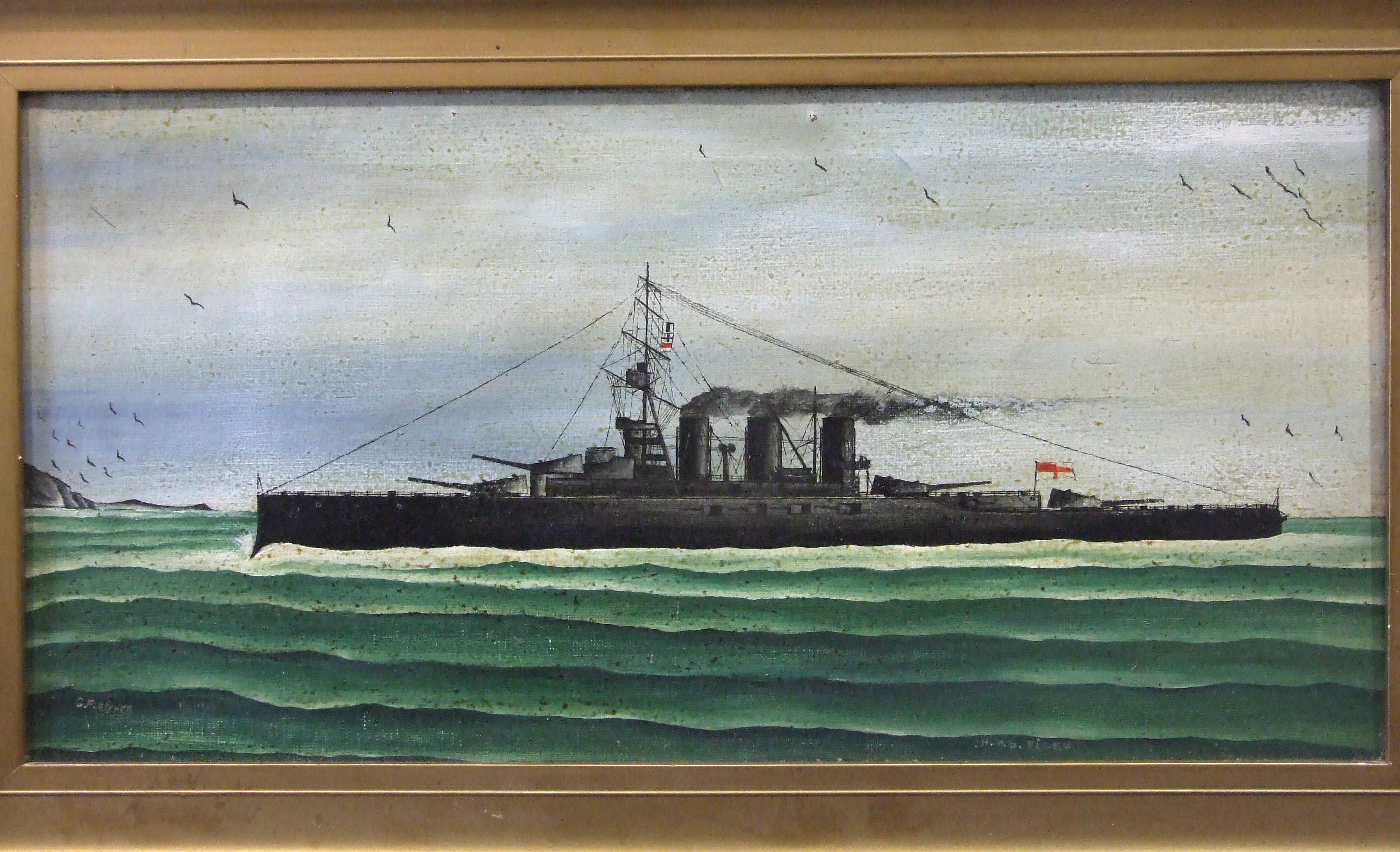 Lot 18 - •G Fletcher (20th century Naïve School) HMS LION Oil on canvas, signed and titled, 29.5 x 60cm and a