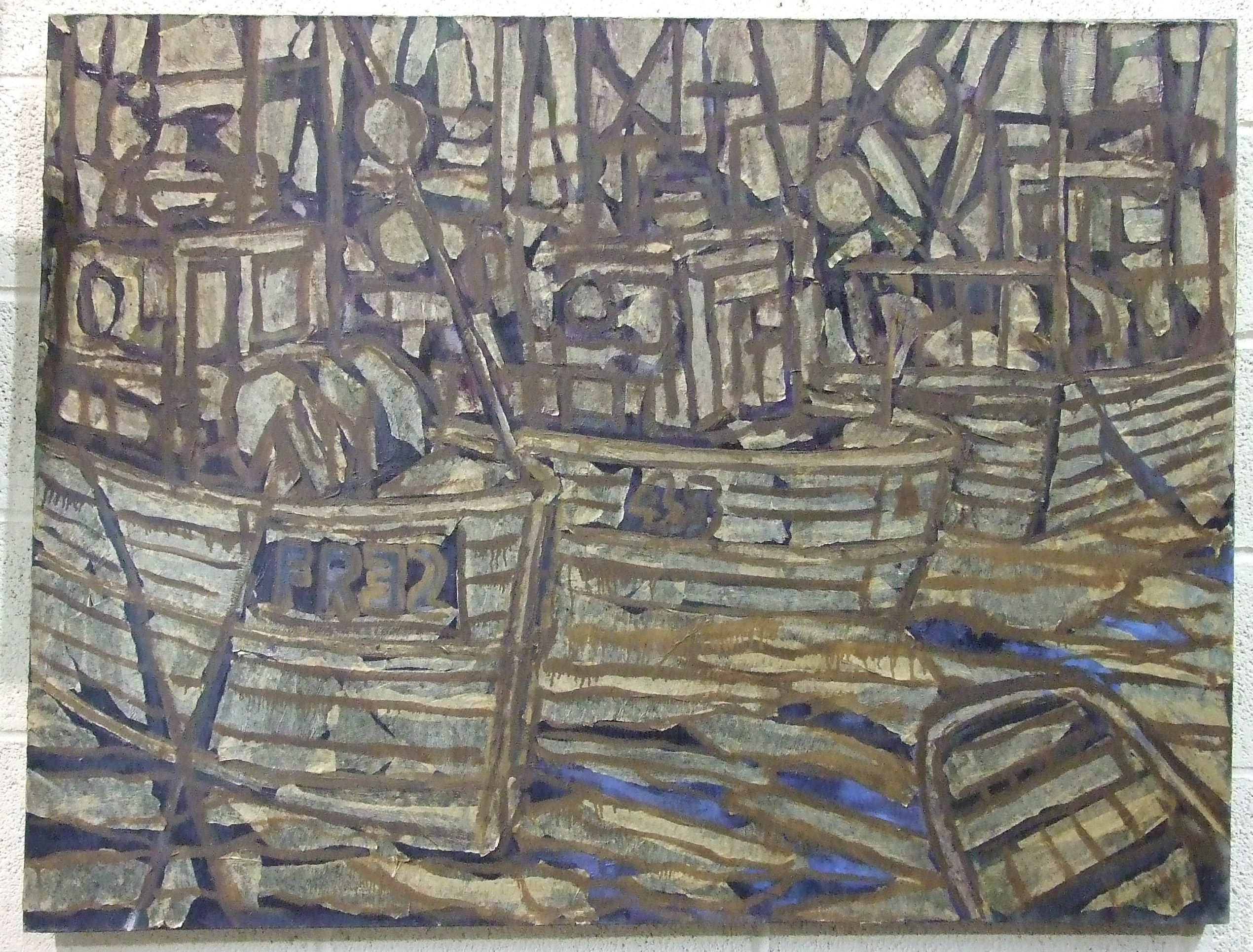 Lot 7 - •Martin Skipper (20th century) DECAYING FLEET Oil on canvas, signed on the reverse, 92 x 122cm.
