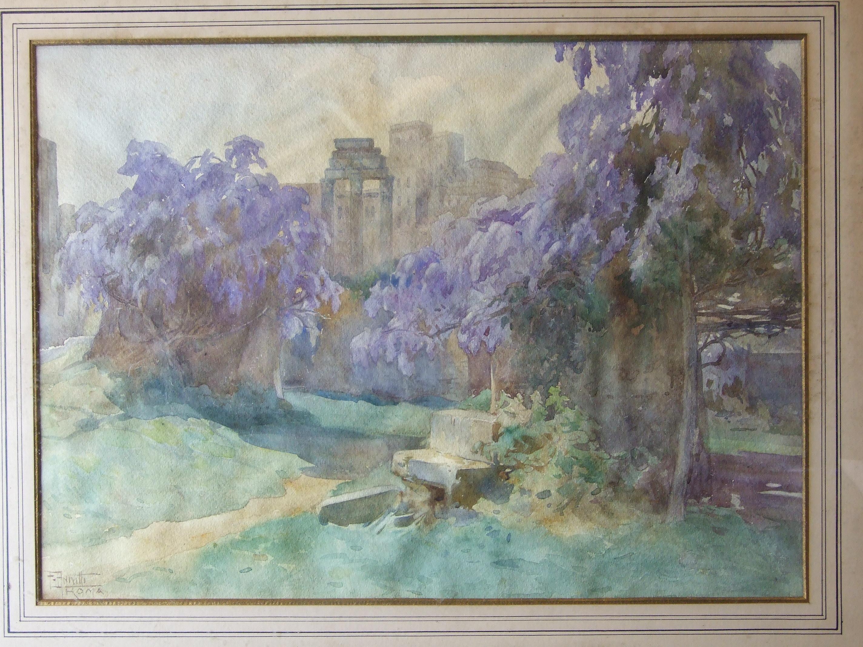 Lot 36 - Filippo Anivitti (1876-1955) ROMA Signed and titled watercolour, 36.5 x 50cm.