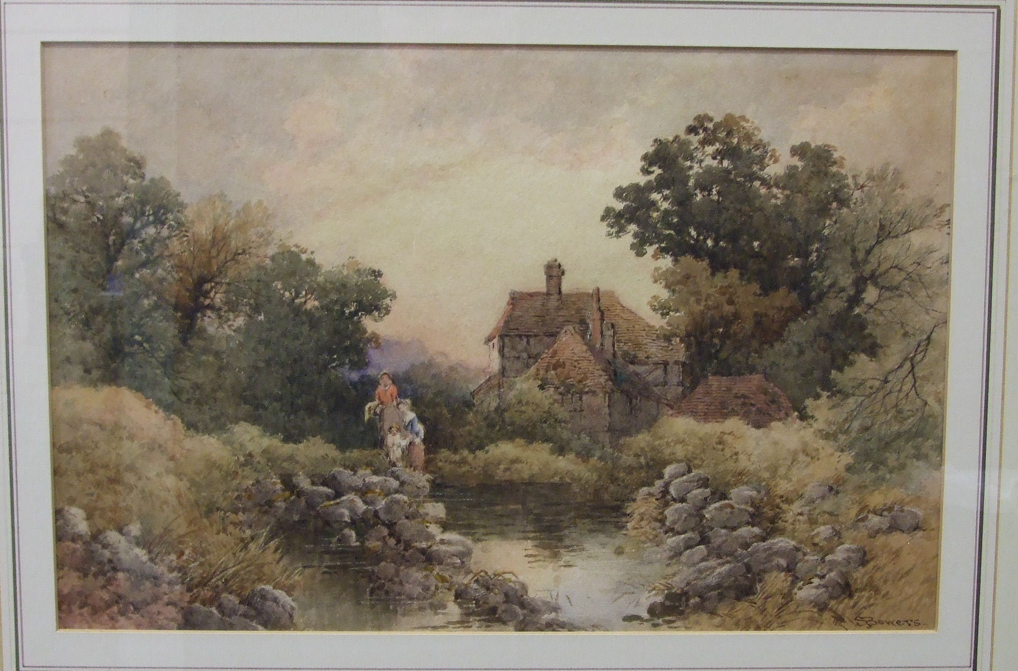 Lot 33 - S Bowers FIGURES BESIDE A STREAM OUTSIDE A COTTAGE Signed watercolour, 24 x 37.5cm.