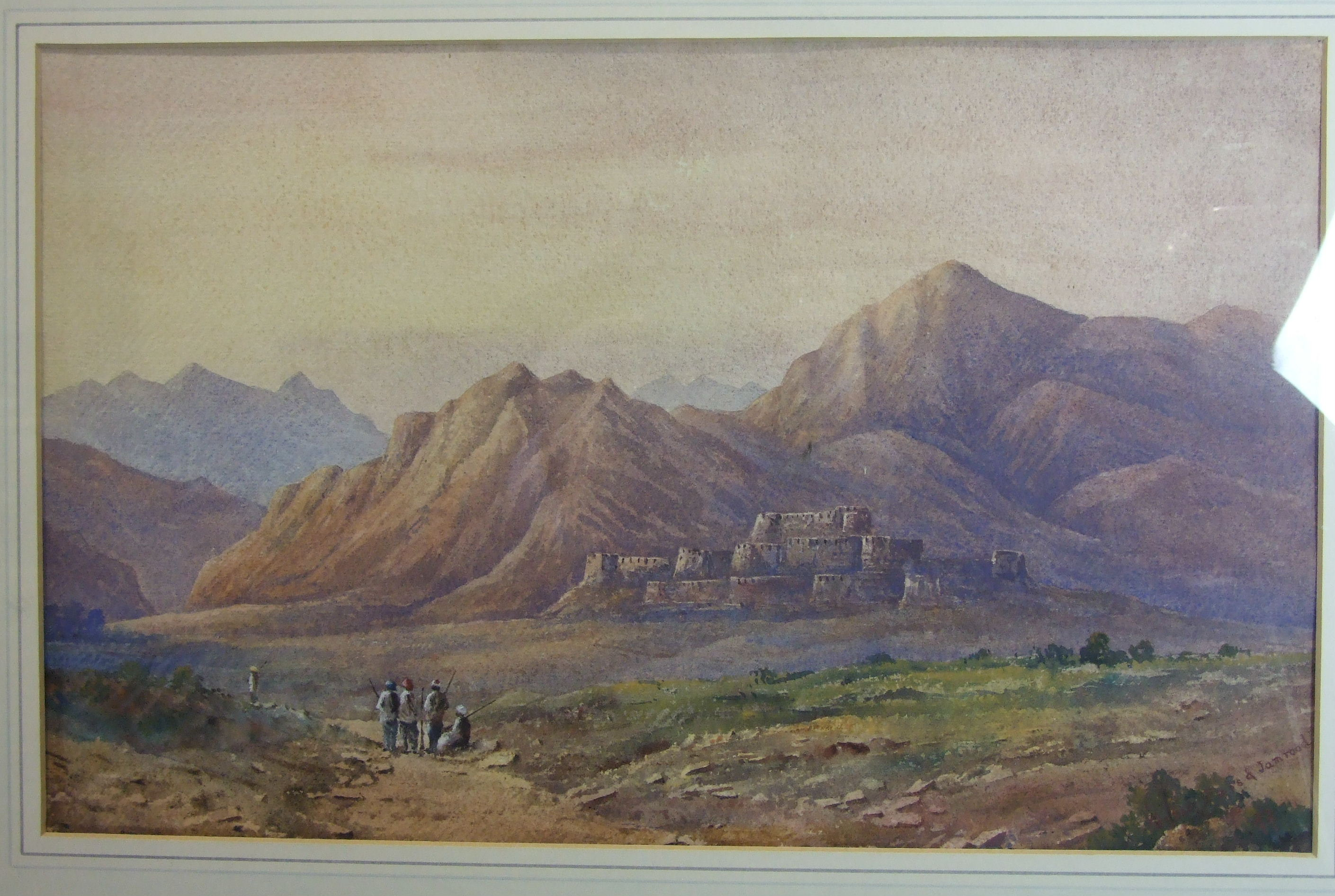 Lot 26 - C R KHYBER PASS AND JAMROOD Watercolour, titled and signed with monogram, 28 x 44cm.