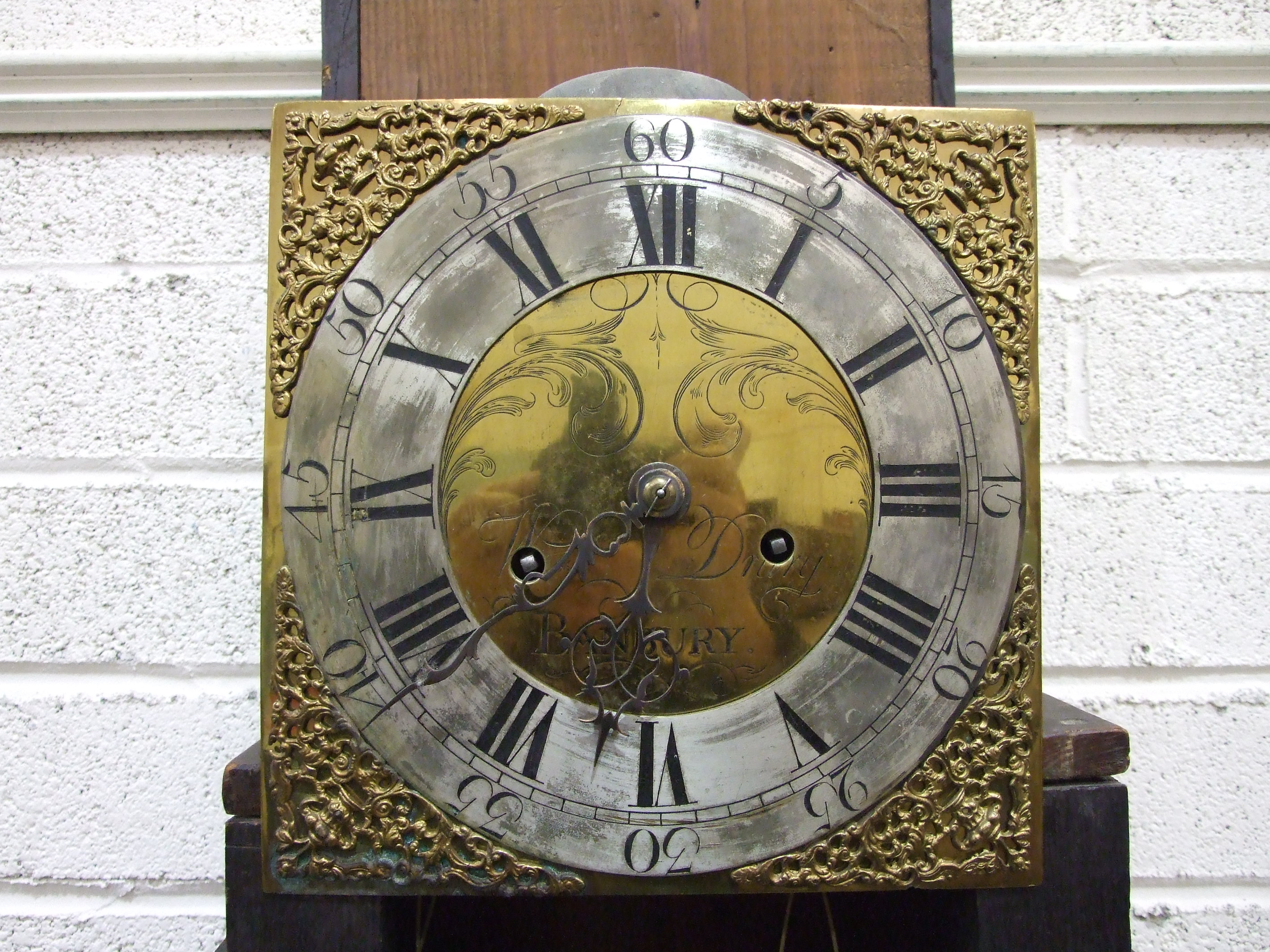 Lot 119 - William Drury, Banbury, an antique oak long case clock, the 10'' brass dial with silvered chapter