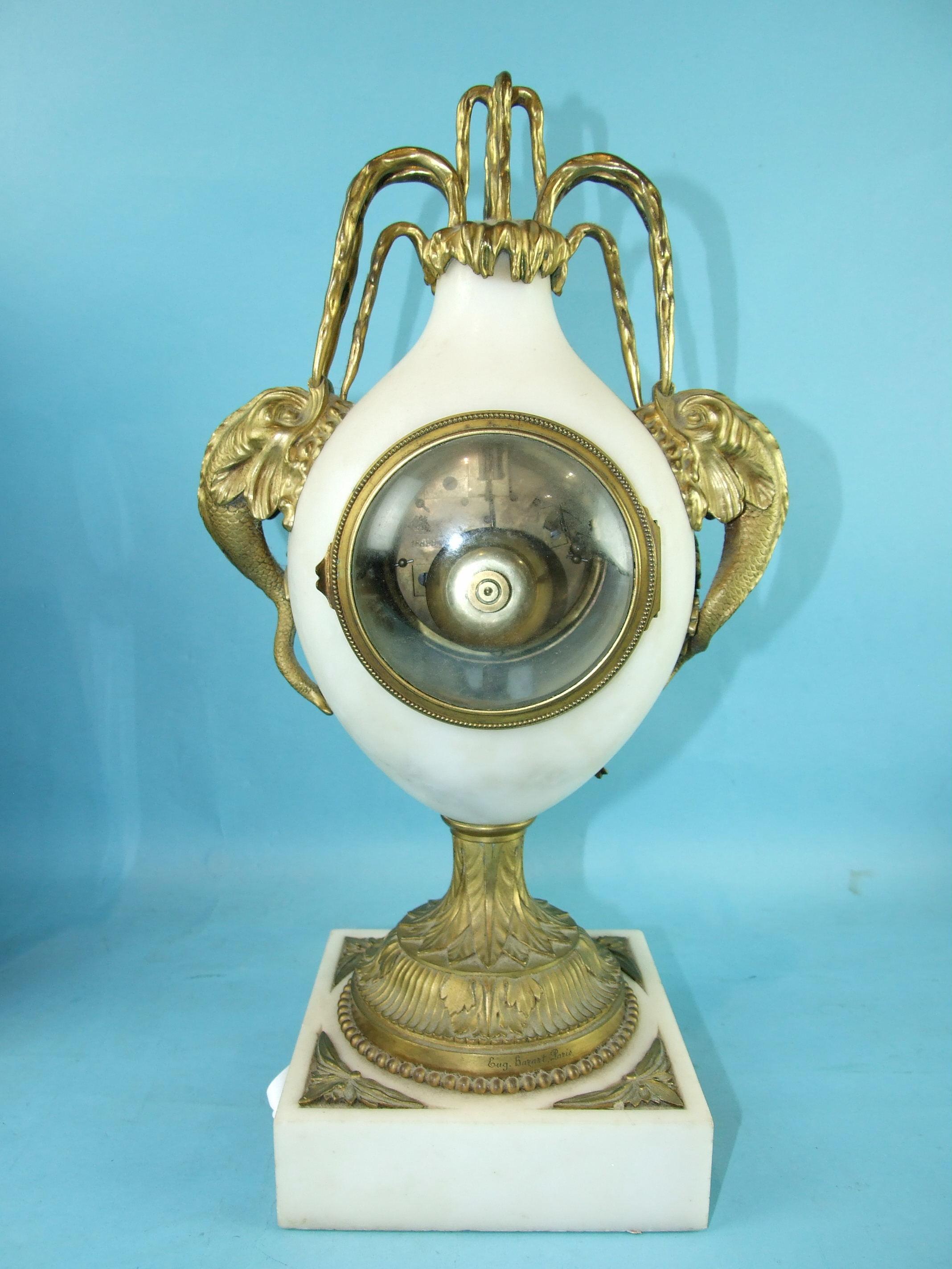 Lot 116 - Julian Béliard, Paris, a white marble and ormolu mantel clock of tear shape, on pedestal and