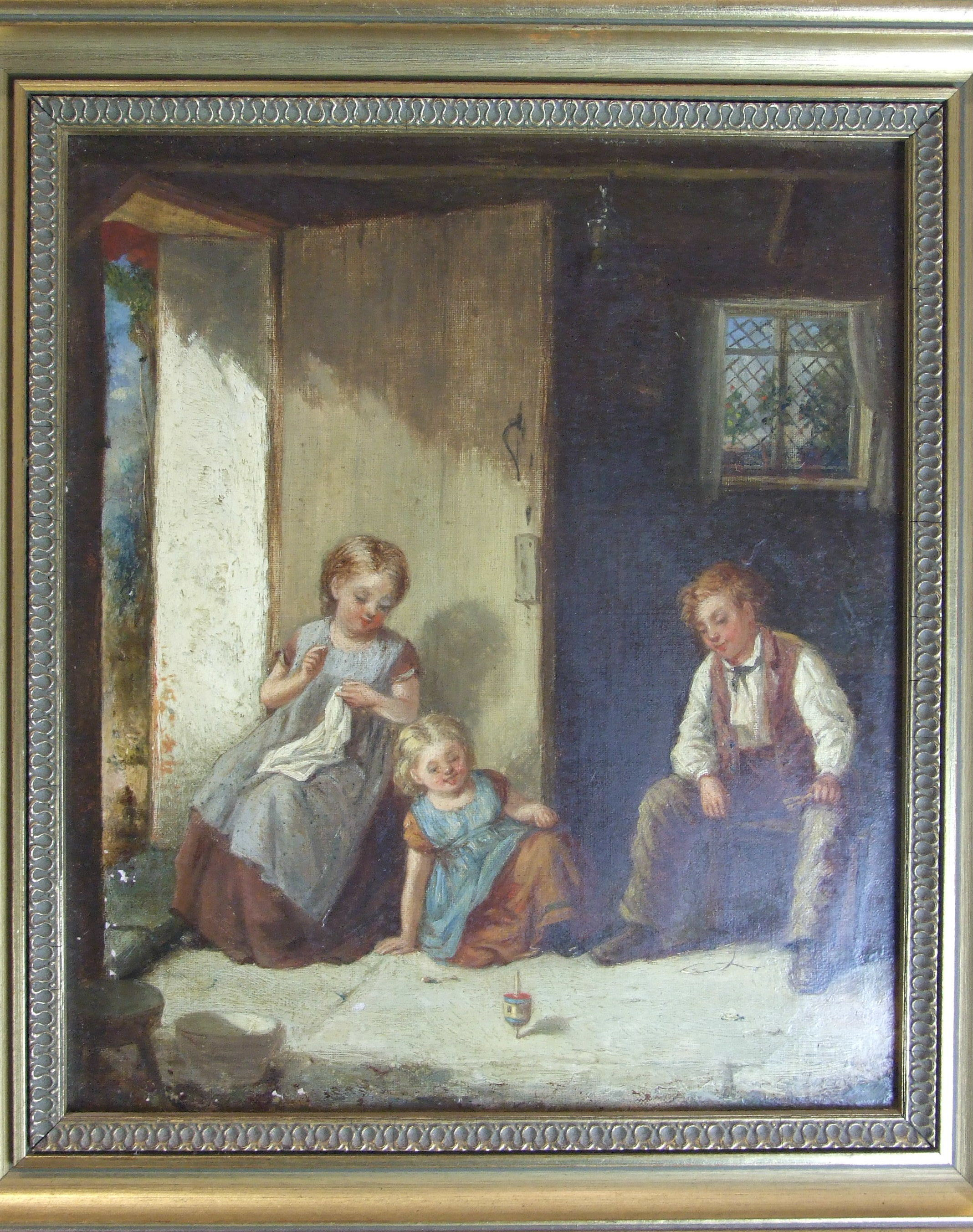 Lot 2 - 19th century English School THE SPINNING TOP, CHILDREN PLAYING IN AN INTERIOR Indistinctly-signed