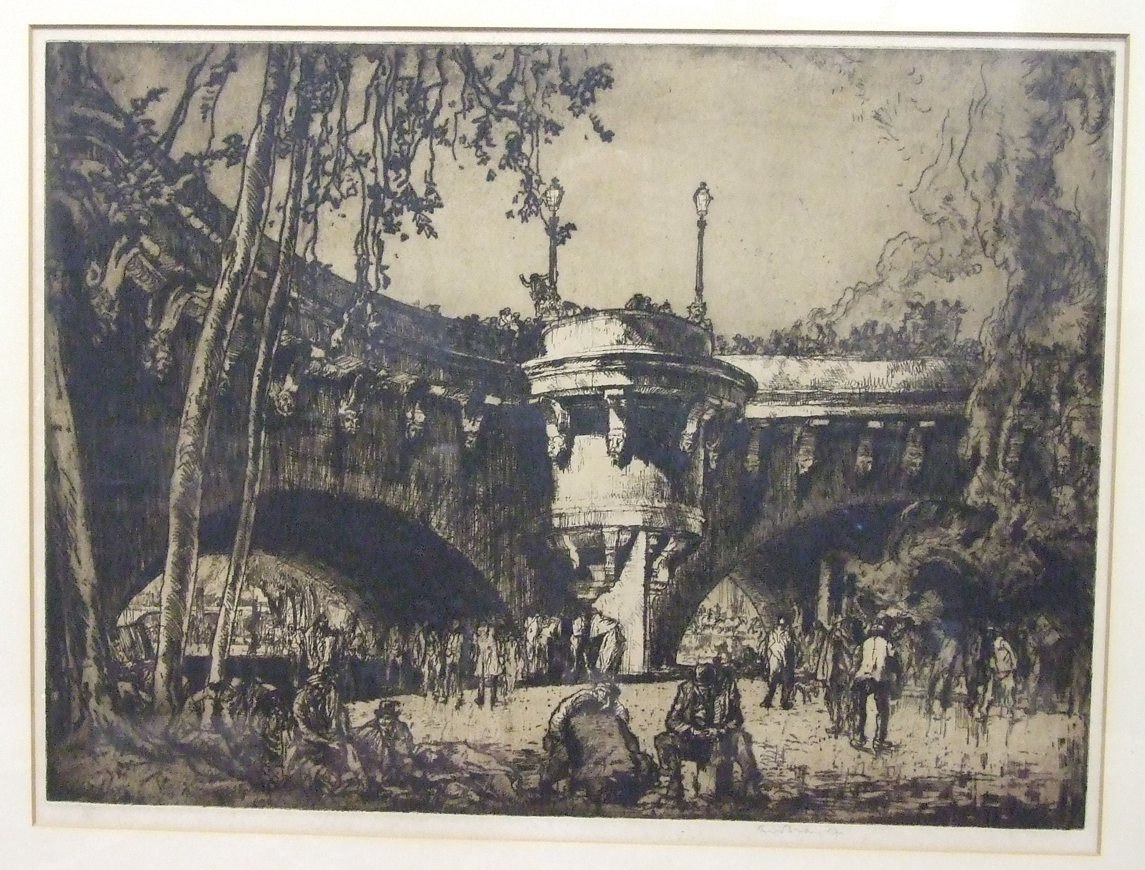Lot 48 - •After Sir Frank Brangwyn RA RWS RBA (1867-1956), 'The Viaduct', engraving, signed in pencil in