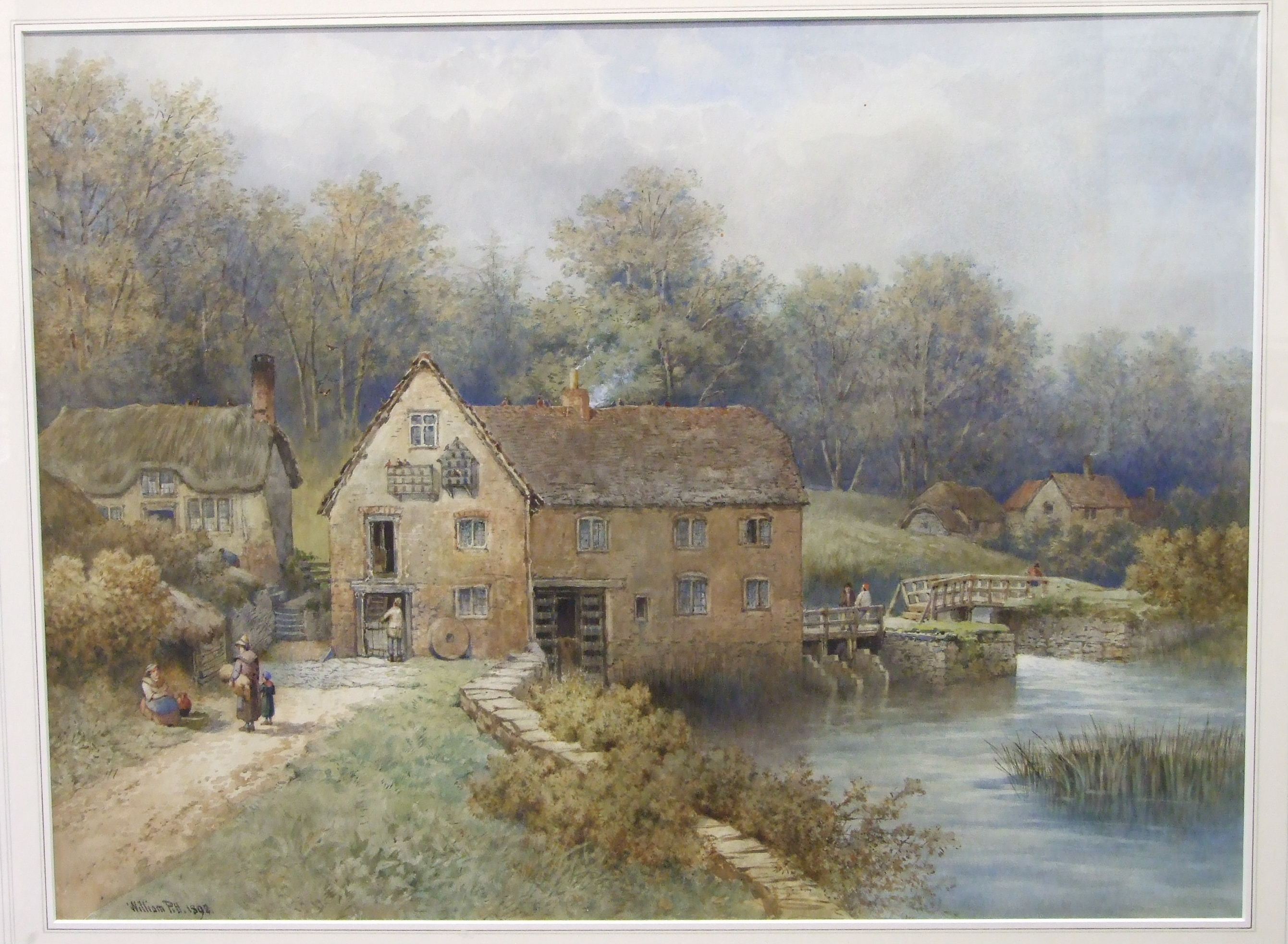 Lot 30 - William Pitt (19th century) FIGURES OUTSIDE A WATERMILL Signed watercolour, dated 1892, 49 x 66.