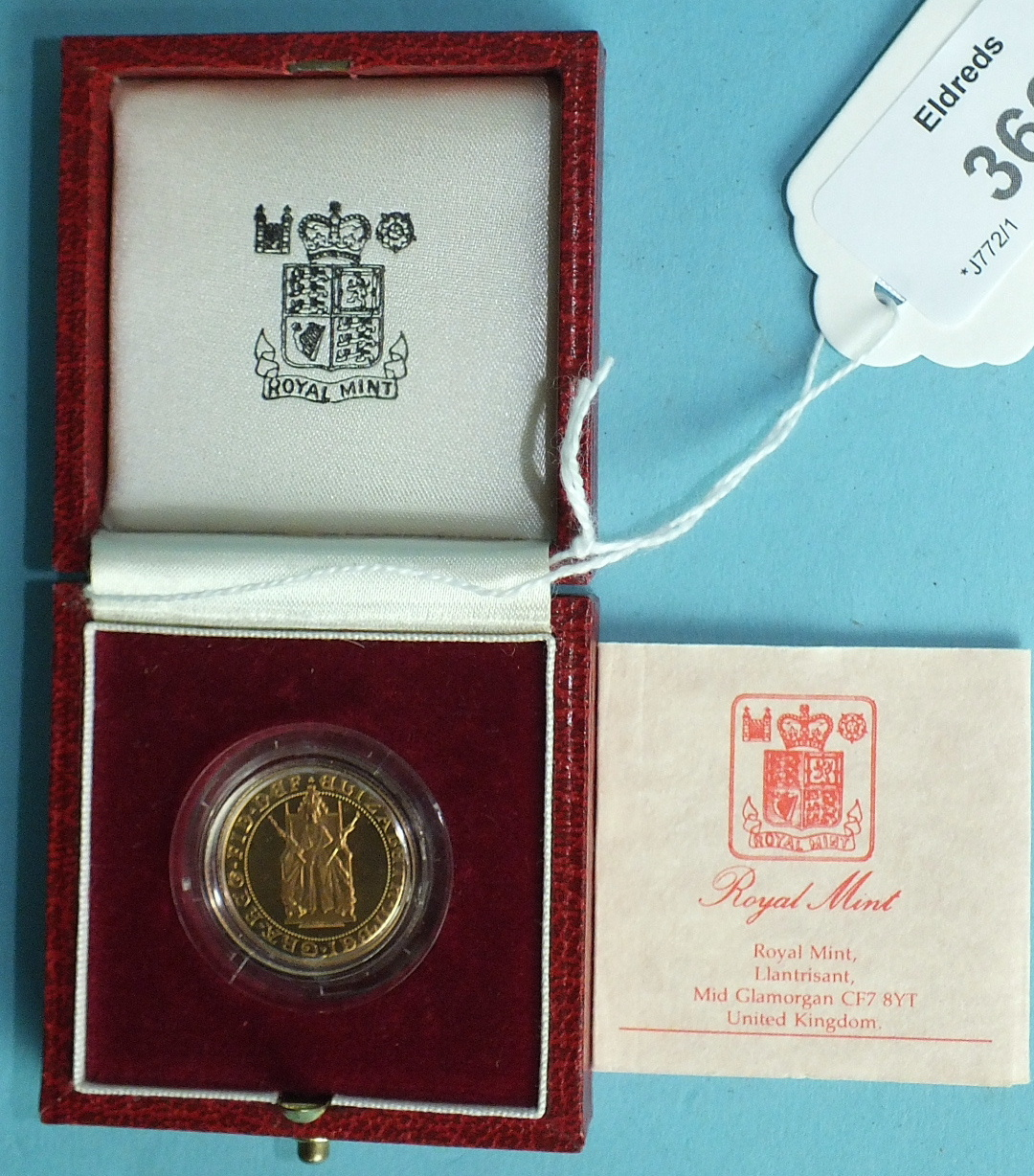 Lot 366 - A Royal Mint Proof 1989 sovereign for the '500th Anniversary of the First Gold Sovereign 1489-1989',