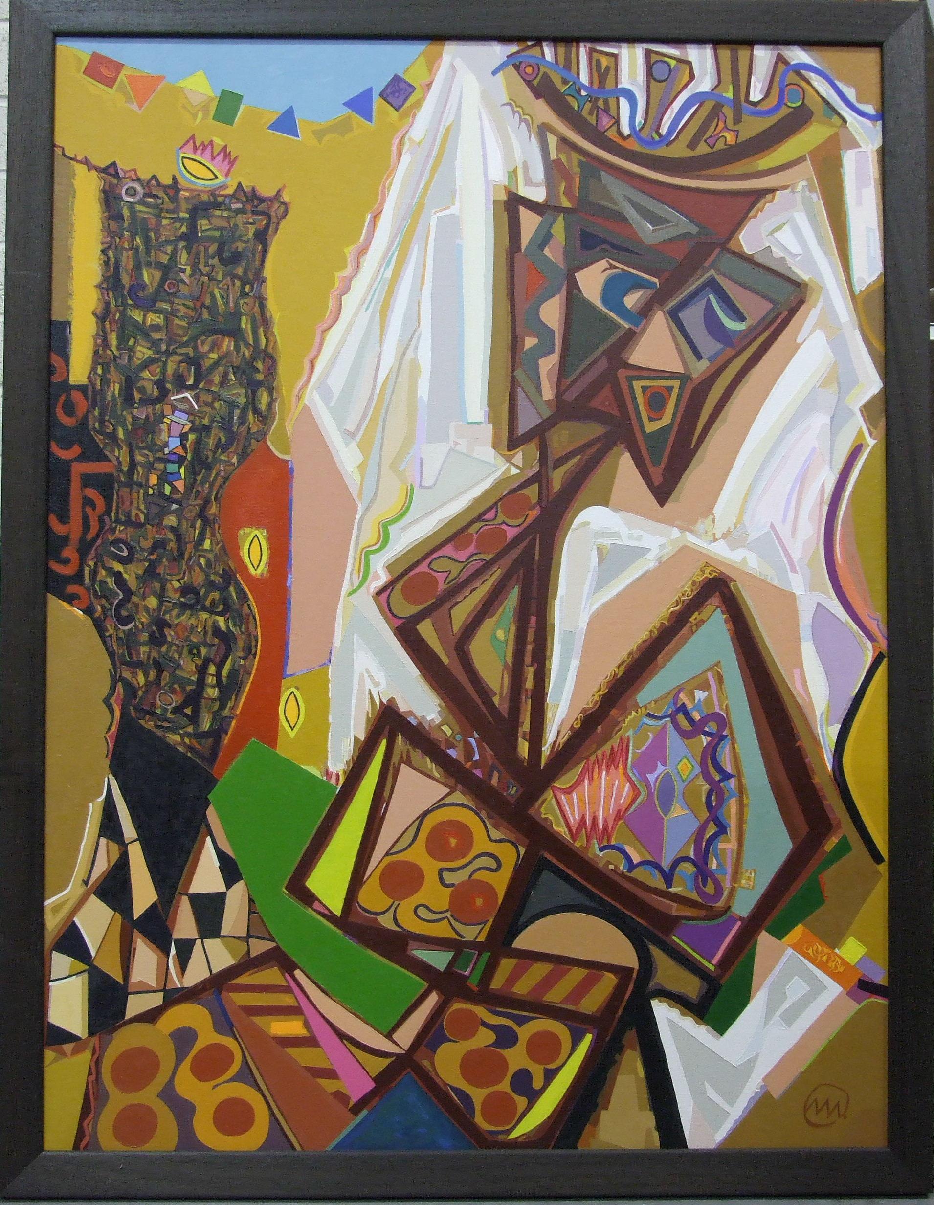 "Lot 12 - •Marjana Wjasnova (20th century) REFLECTION (Abstract) Oil on canvas, signed monogram, titled, """