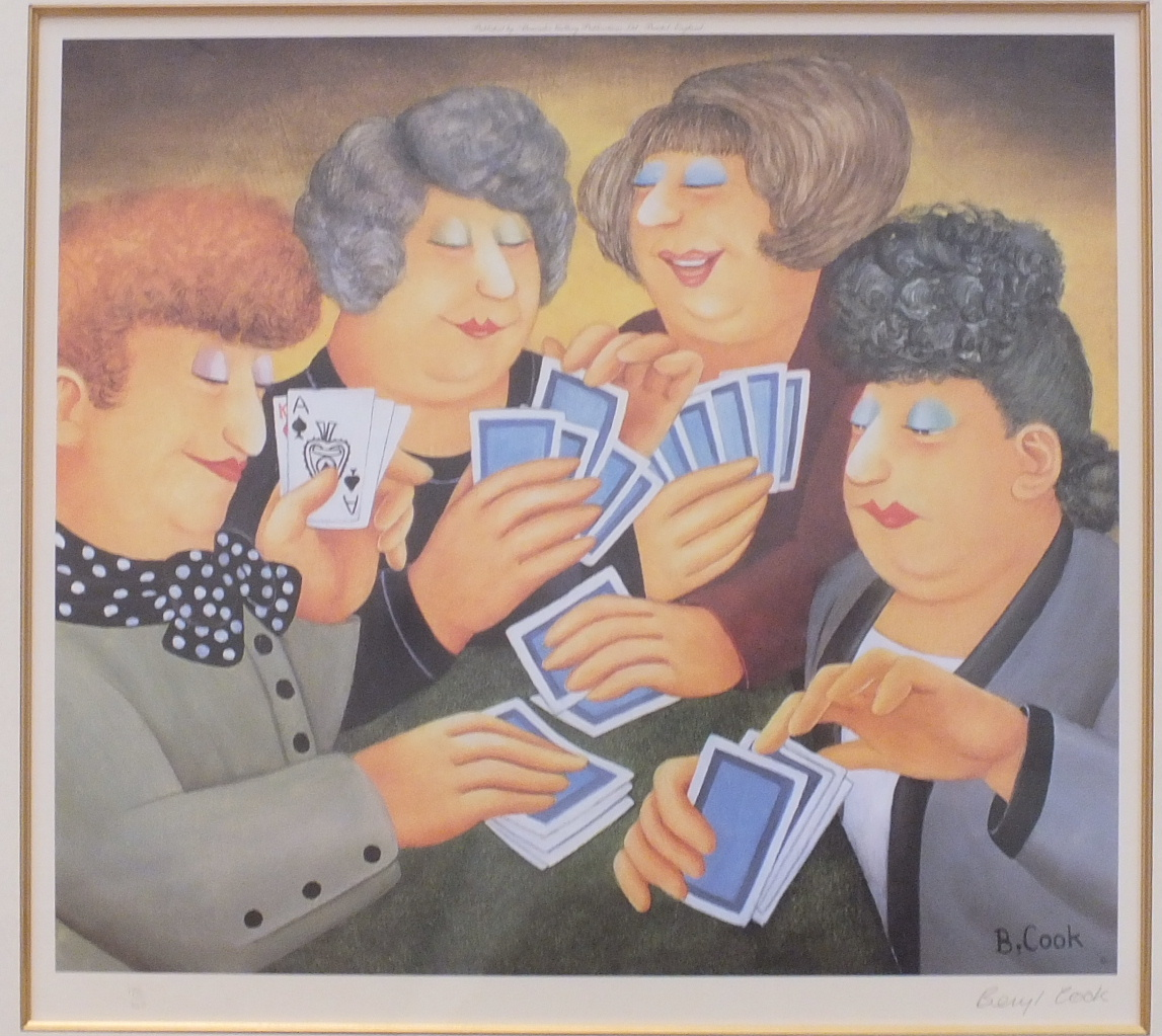 Lot 41 - •After Beryl Cook, 'A Full House', a limited edition unframed coloured print, 44 x 48cm, signed with