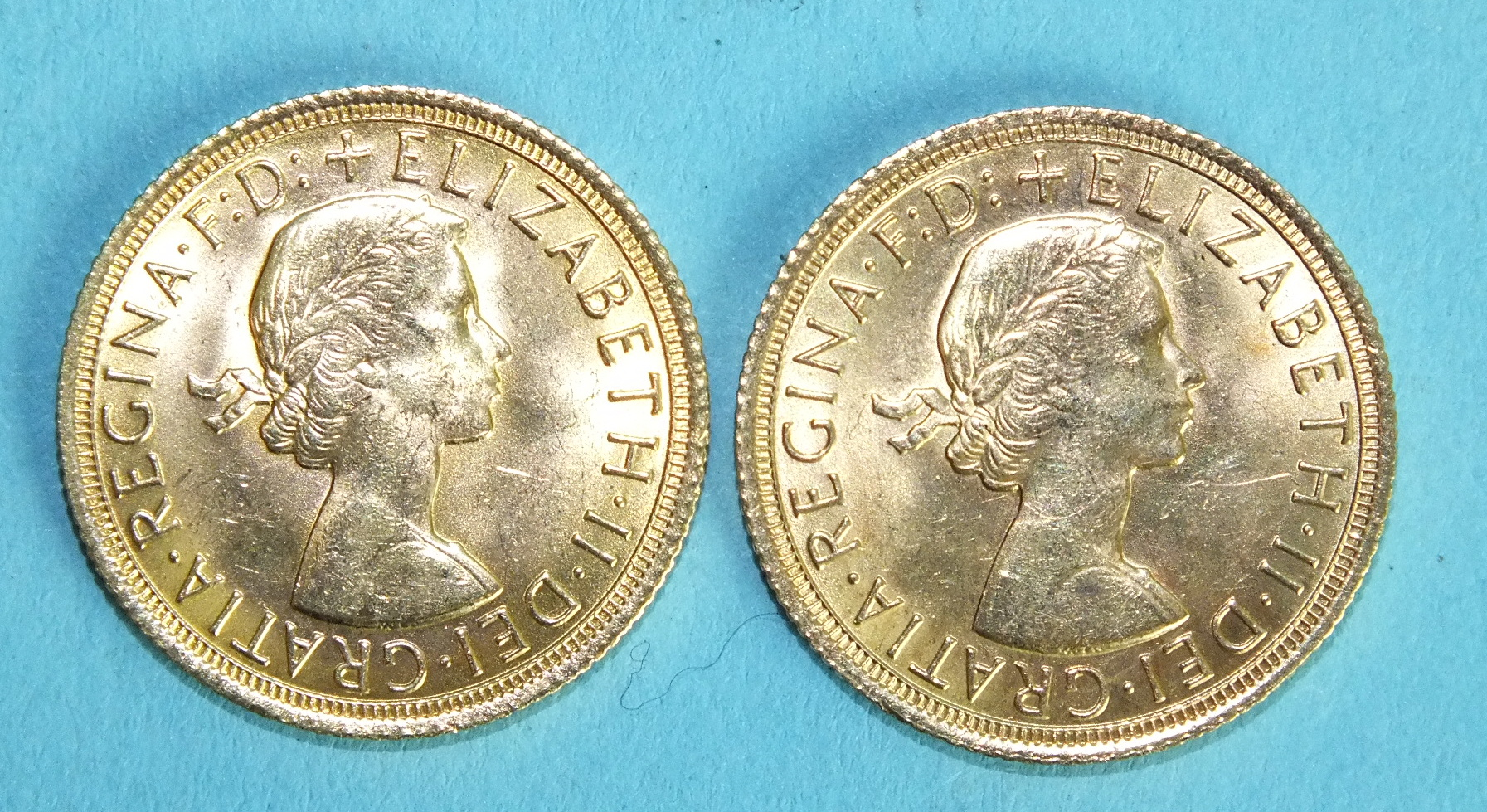 Lot 380 - Two Elizabeth II 1968 sovereigns, (2).