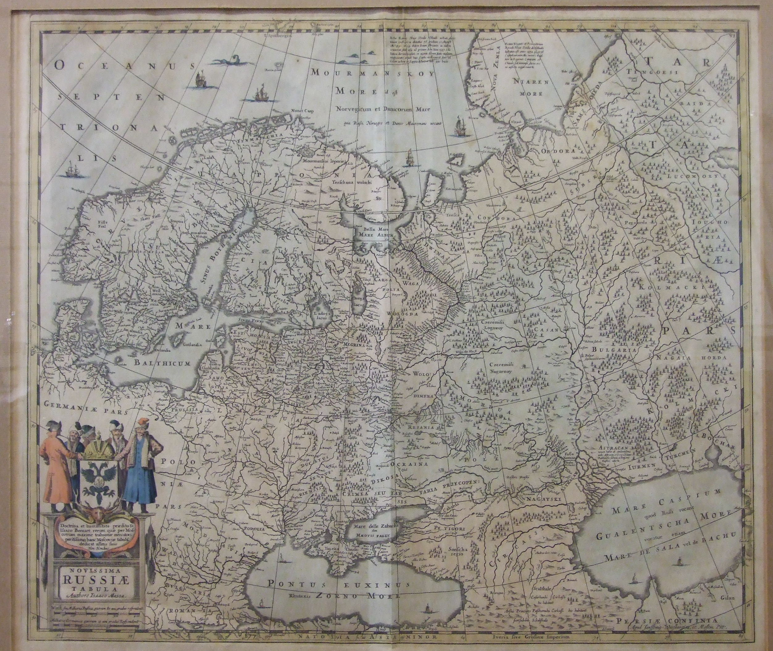 Lot 53 - Isaaco Massa, 'Novissima Russiae Tabula', hand-coloured map, 49 x 57cm, some foxing overall.