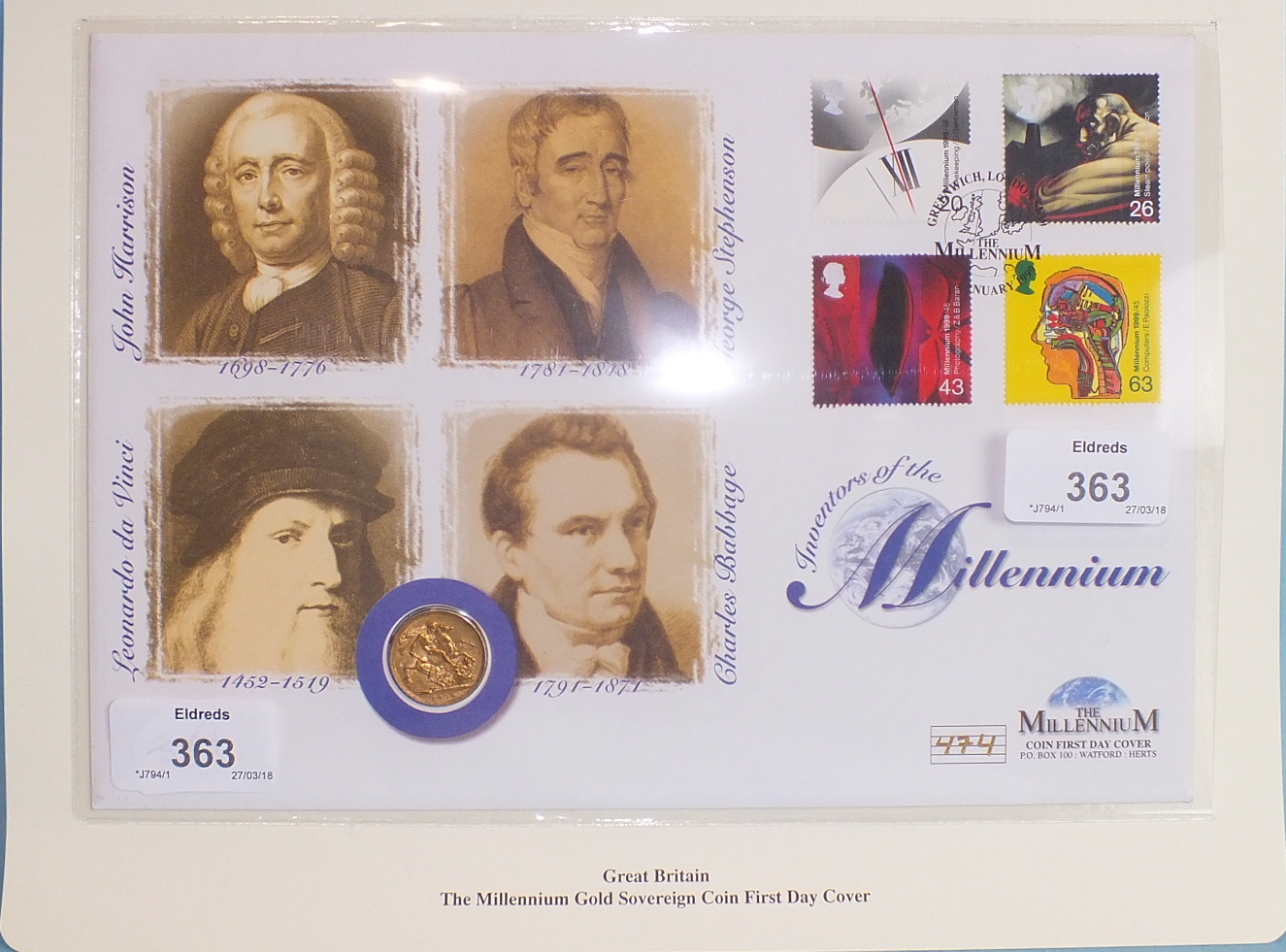 Lot 363 - A Westminster Mint 'The Millennium Gold Sovereign Coin First Day Cover', containing a Queen Victoria