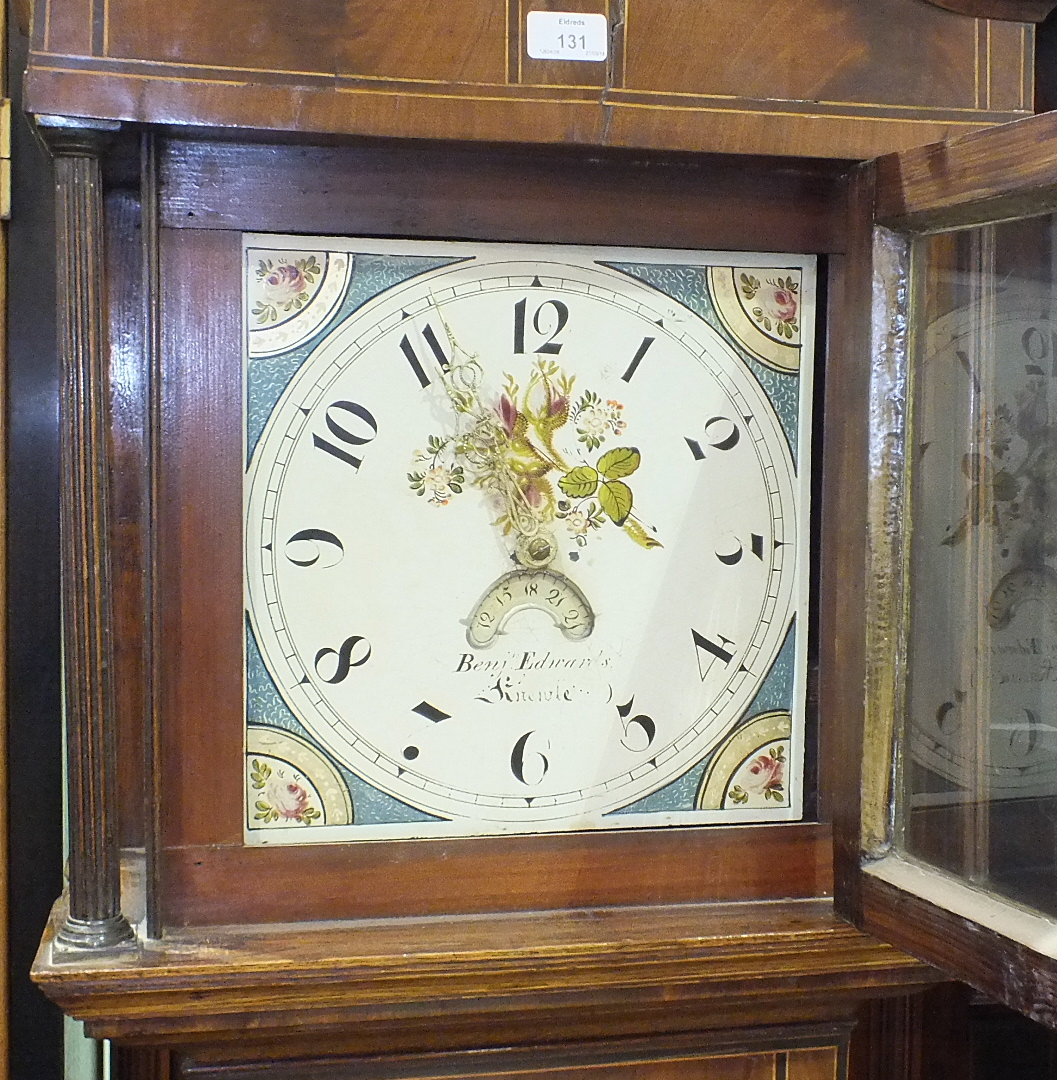 Lot 131 - Benj.n Edwards, Knowle, an early-19th century oak and mahogany-banded long case clock, the painted