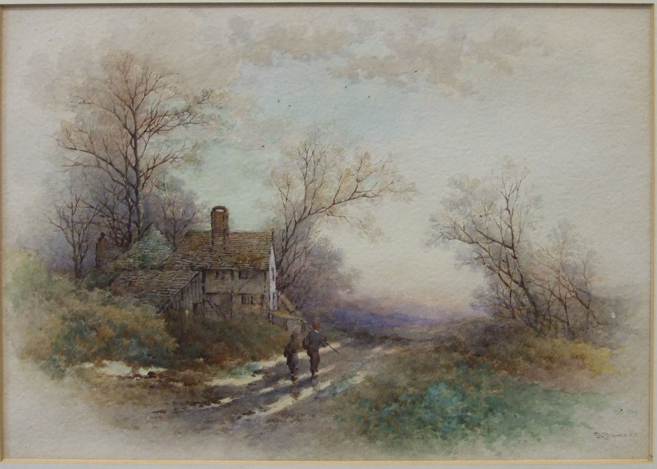 Lot 32 - S Bowers TWO YOUNG BOYS CARRYING FISHING EQUIPMENT, WALKING PAST A COTTAGE ON A COUNTRY LANE