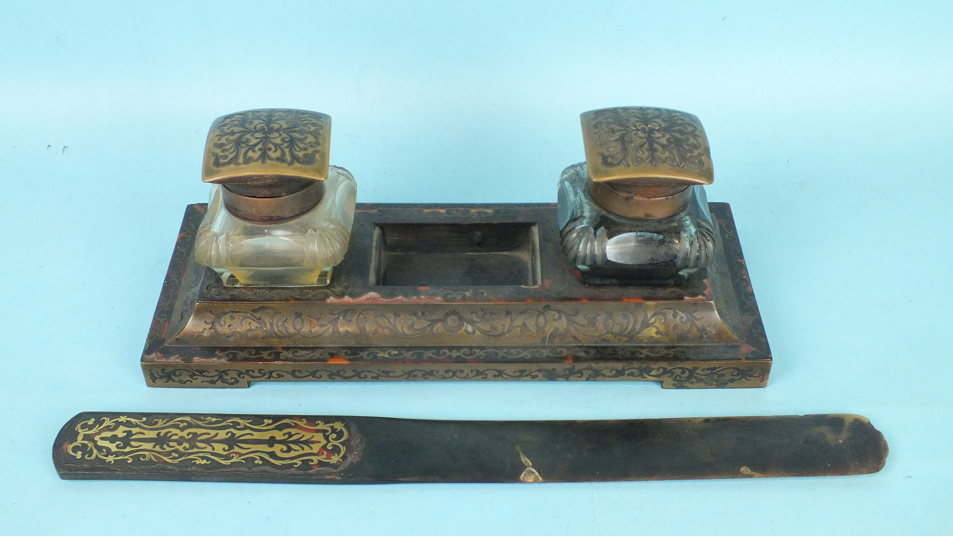 Lot 171 - A 19th century Boulle-work inkstand with two glass wells, on a rectangular stand and a tortoiseshell