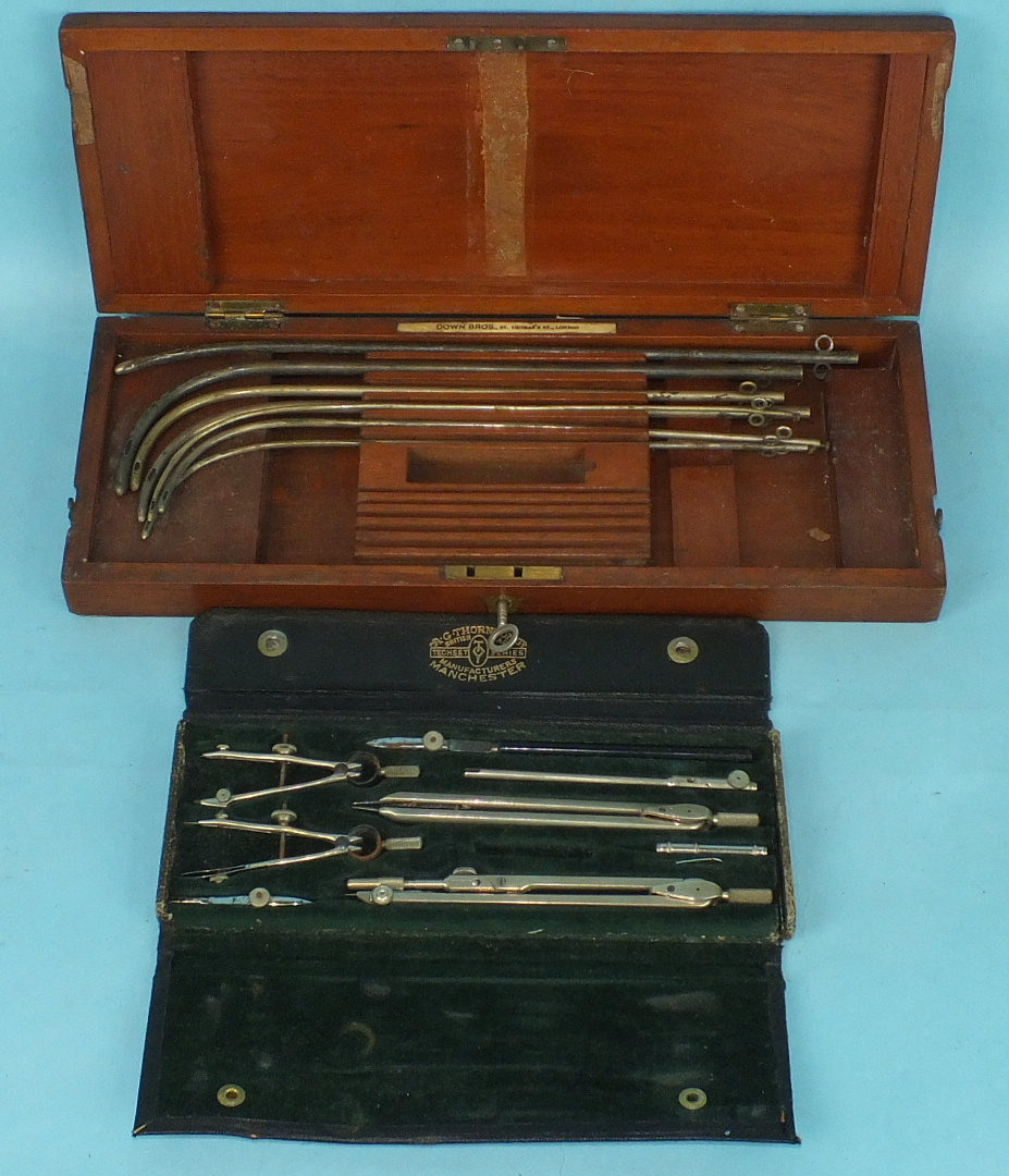 Lot 164 - A collection of seven urethra needles in fitted box by Down Bros, St Thomas's Street, London and a