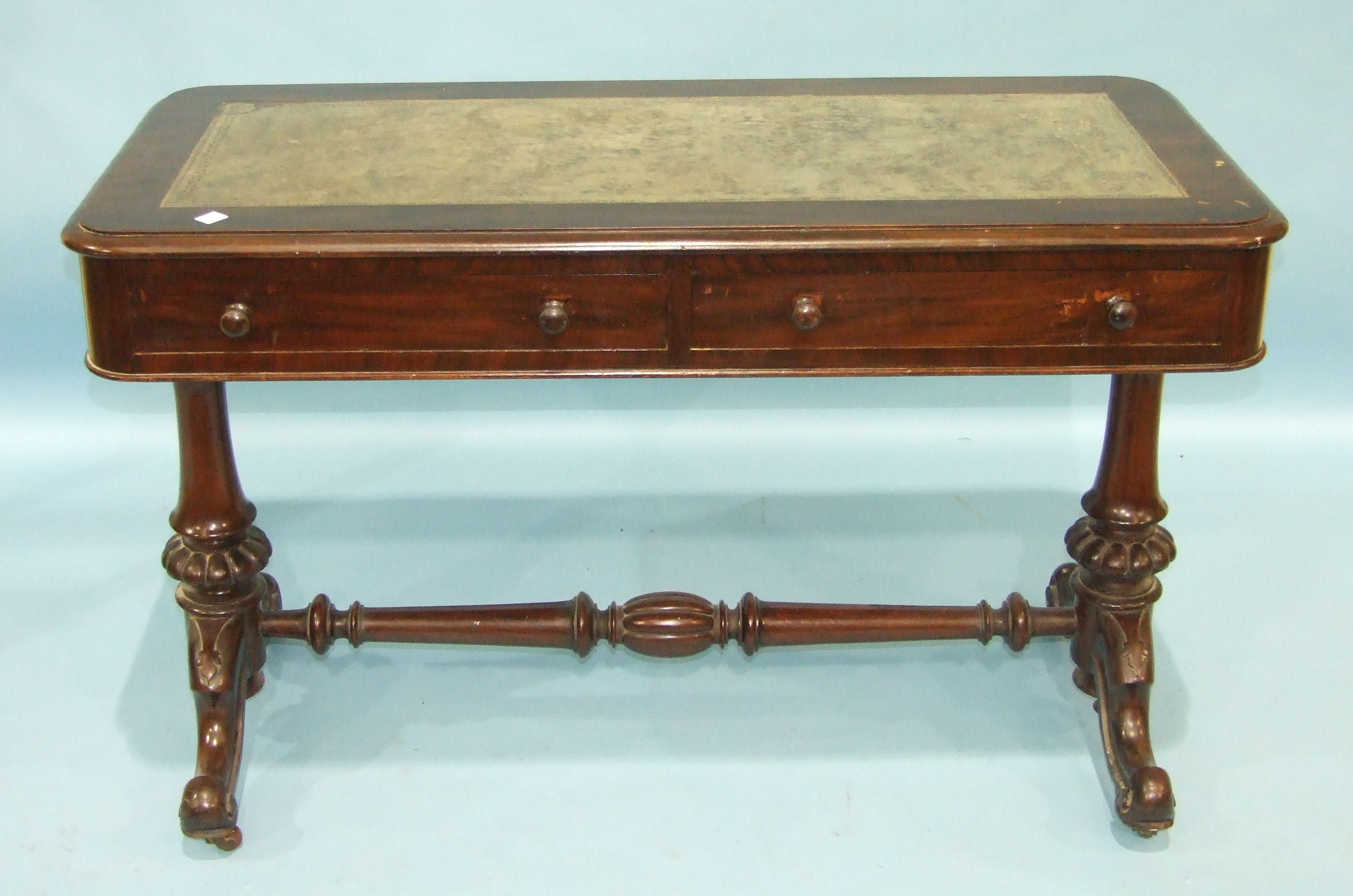 Lot 93 - A 19th century mahogany centre table, the rectangular top above two frieze drawers, on turned end