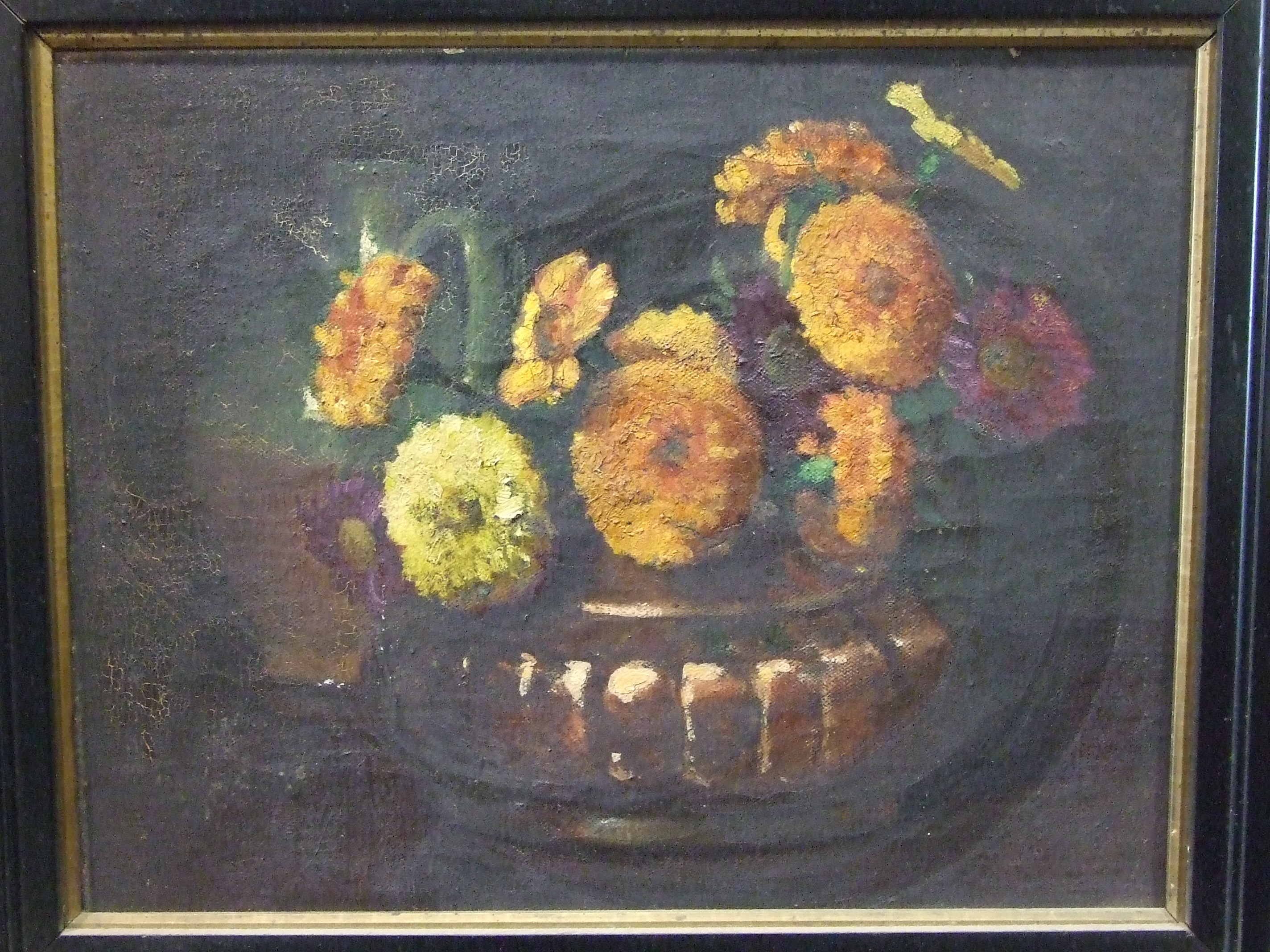 Lot 8 - J N Hitchings (late-19th/early-20th century) MARIGOLDS IN COPPER BOWL Unsigned oil on canvas,