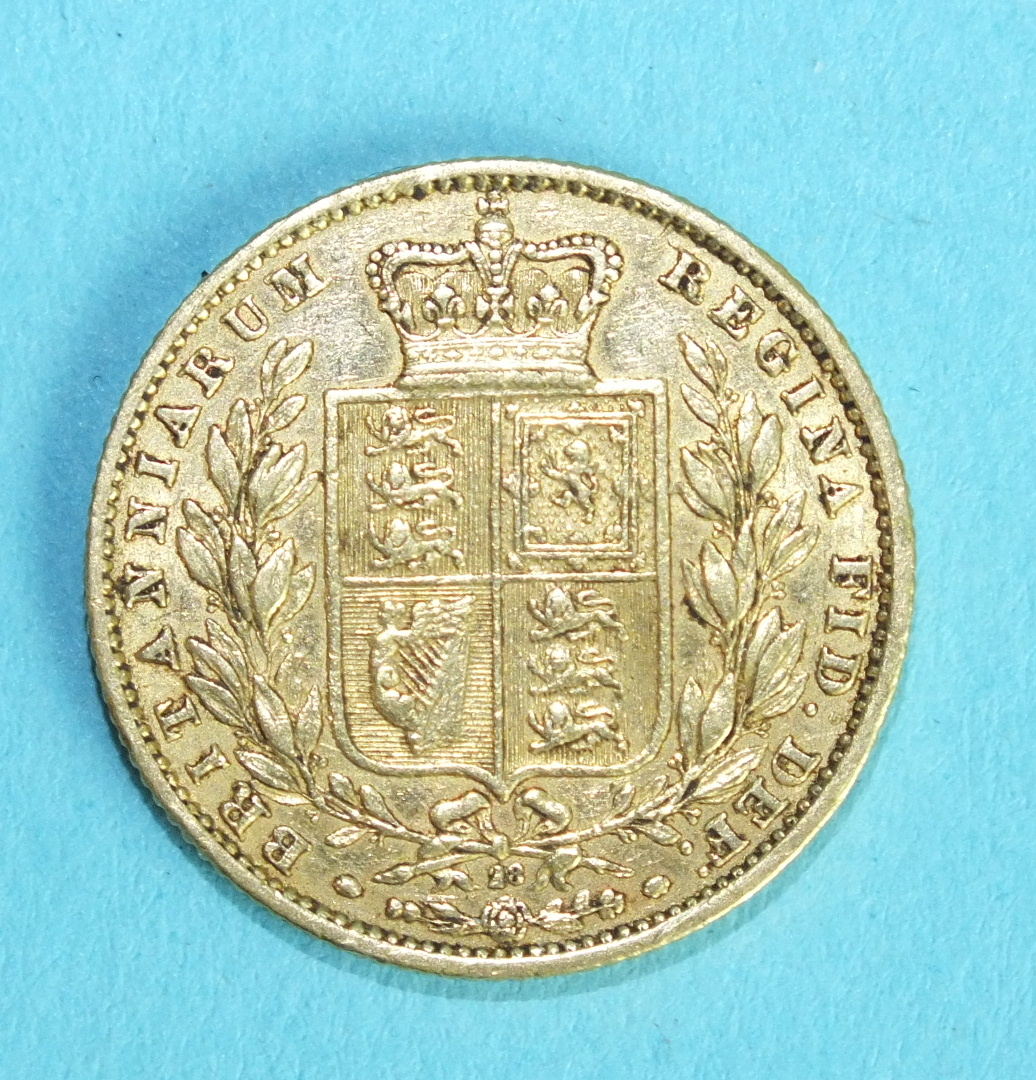 Lot 350 - A Queen Victoria young head 1865 sovereign.