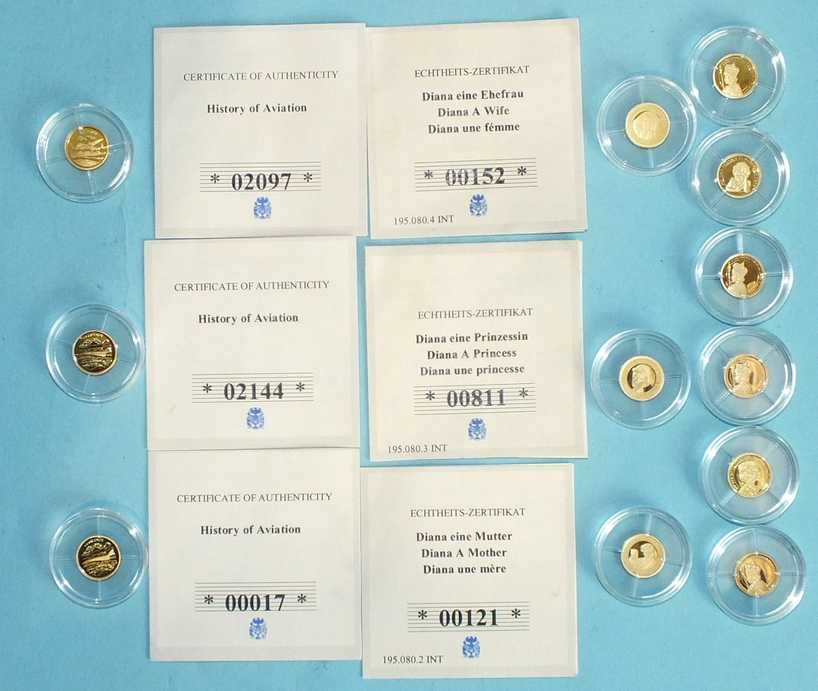 Lot 392 - A collection of twelve 14ct gold miniature coins, including 3x History of Aviation, 3x Princess