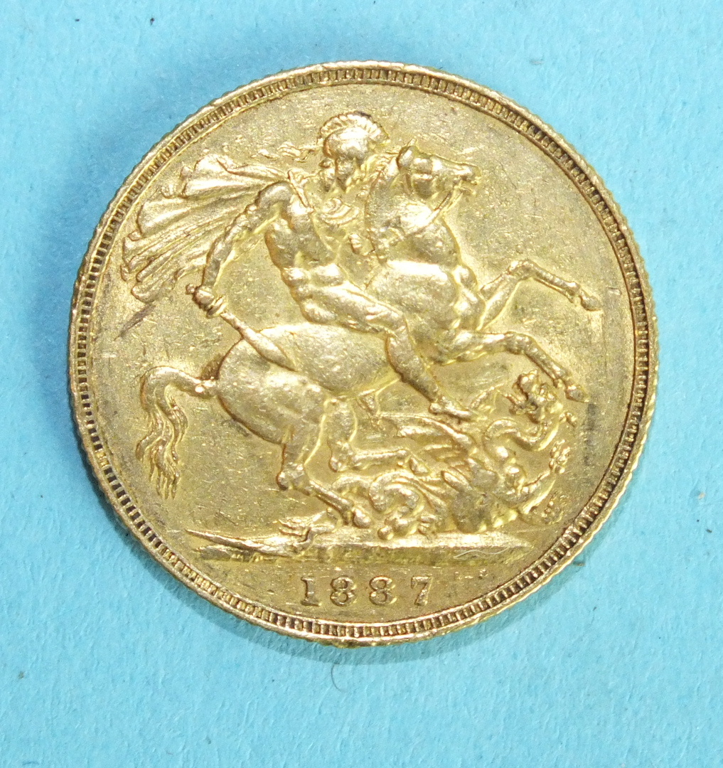 Lot 351 - A Queen Victoria 1887 sovereign.