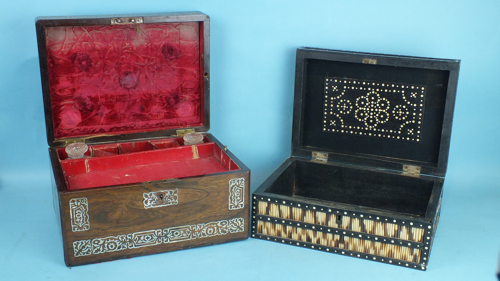Lot 154 - A rectangular porcupine quill box, 30cm wide and a mother-of-pearl-inlaid rosewood dressing case, (