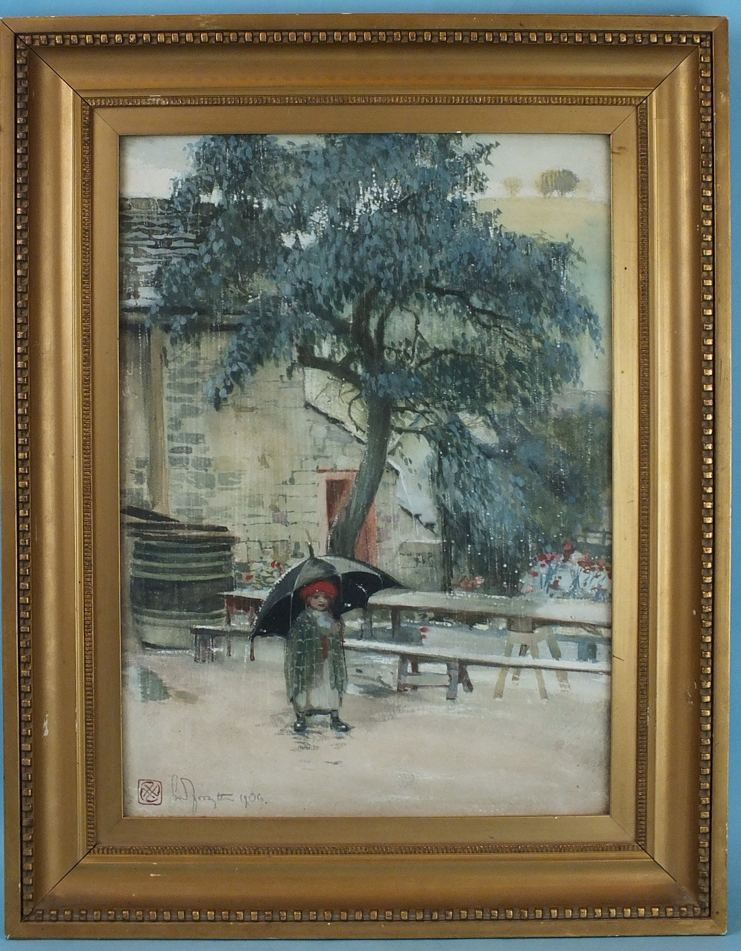 Lot 23 - •Gordon Mitchell Forsyth (1879-1952) YOUNG GIRL STANDING UNDER AN UMBRELLA OUTSIDE A BRICK