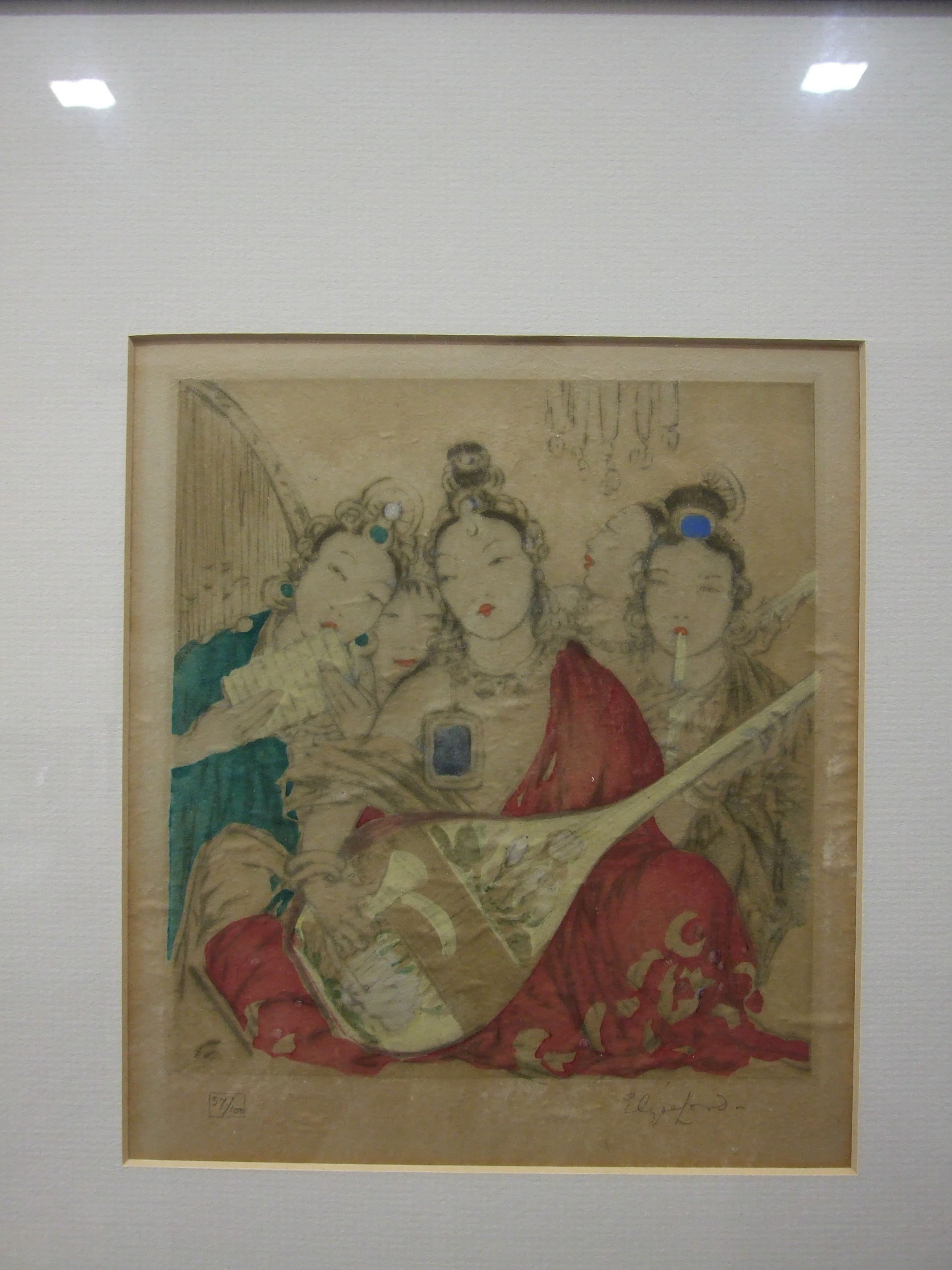 Lot 45 - •Elyse Ashe Lord RI (1900-1971), 'Oriental Musicians', hand-coloured etching, signed in pencil on