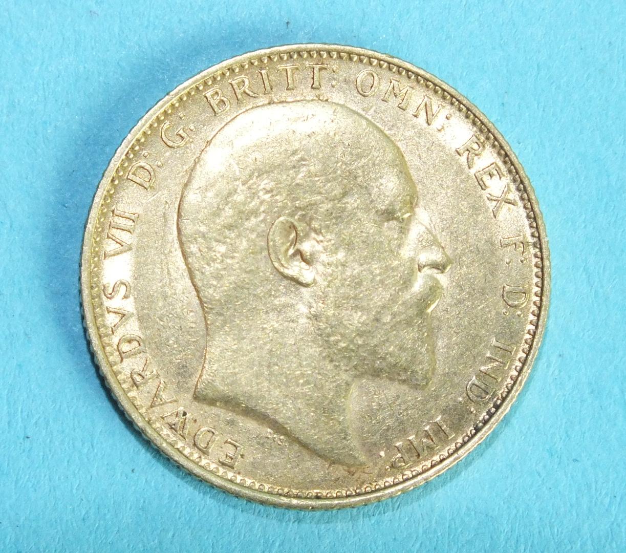 Lot 355 - An Edward VII 1910 sovereign, Melbourne Mint.