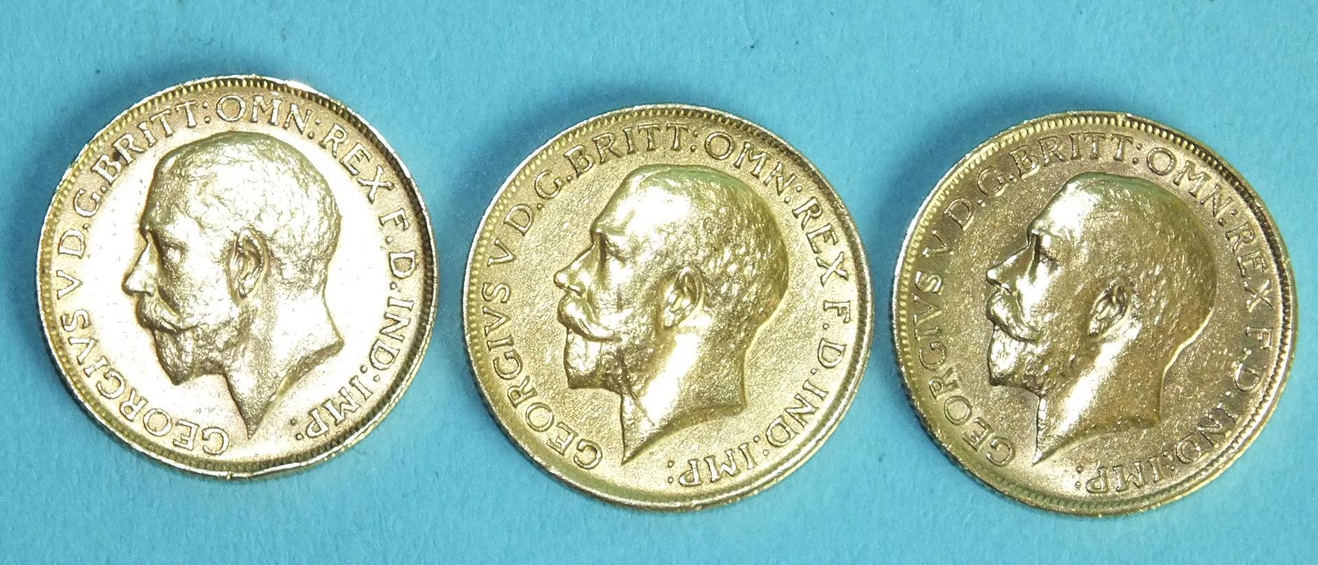 Lot 373 - Three George V 1911 sovereigns, (3).