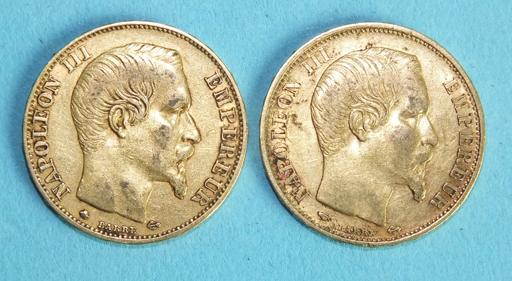 Lot 387 - Two French Napoleon III 20-Francs coins, 1859, (2).
