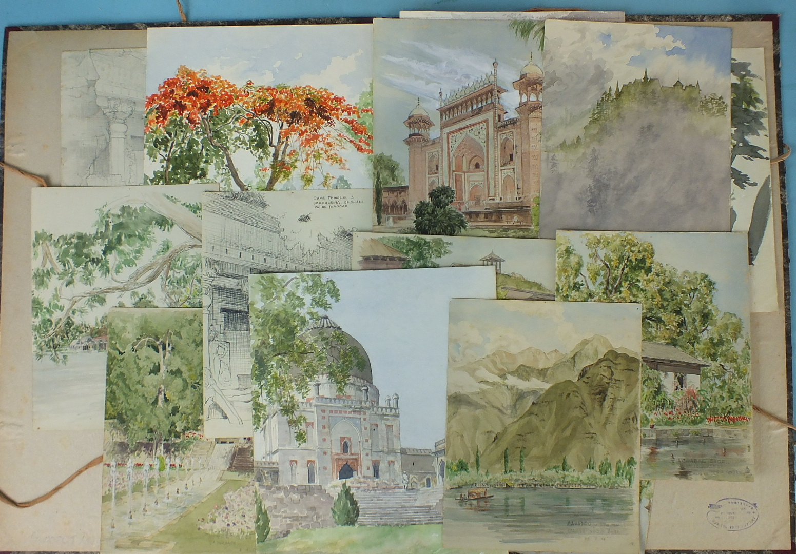Lot 27 - **Day, a collection of watercolour sketches, mainly India, including Achabal Bach Nr Islamabad Mogul