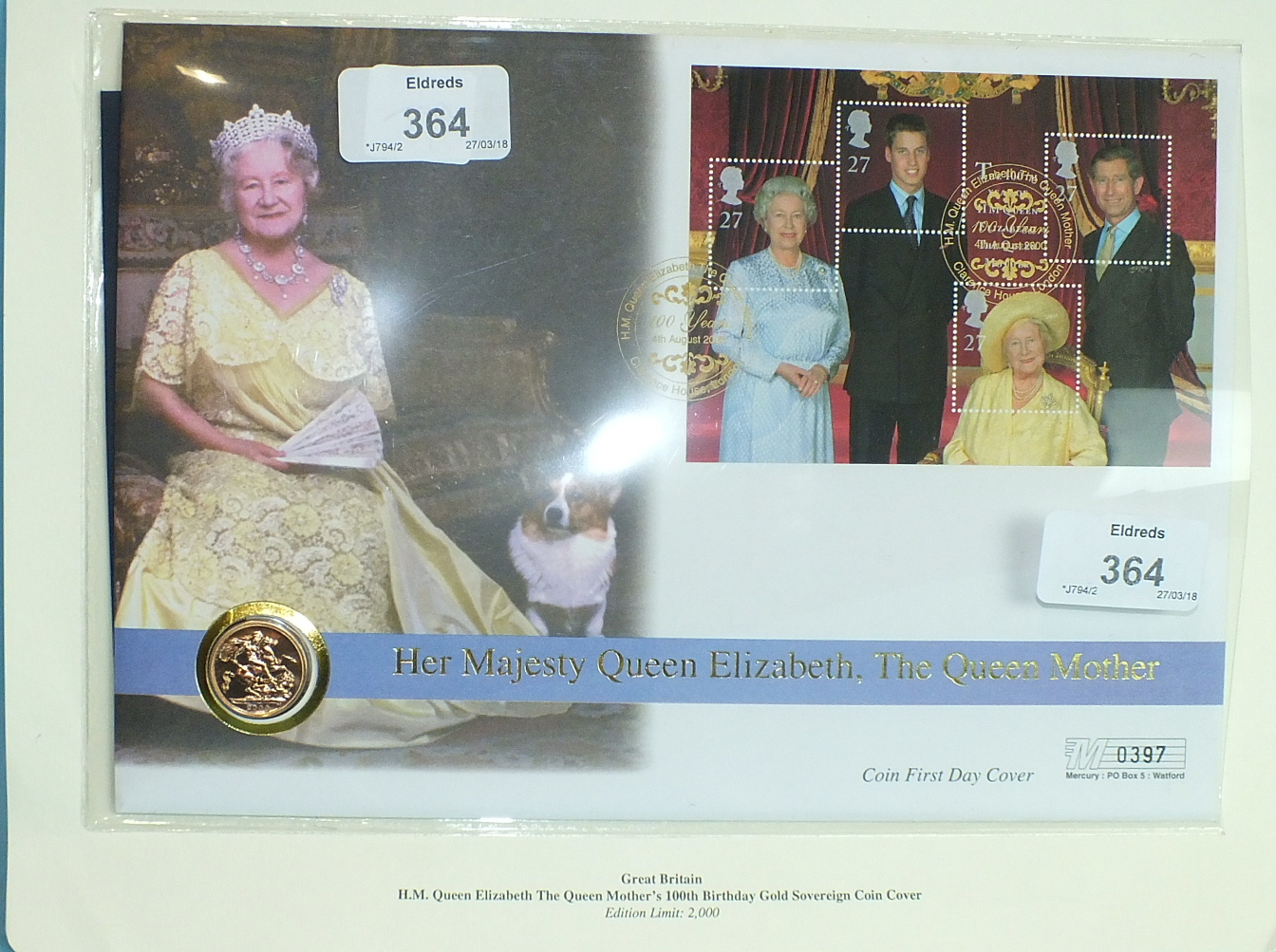 Lot 364 - An H M Queen Elizabeth The Queen Mother's 100th Birthday Gold Sovereign Coin Cover containing an