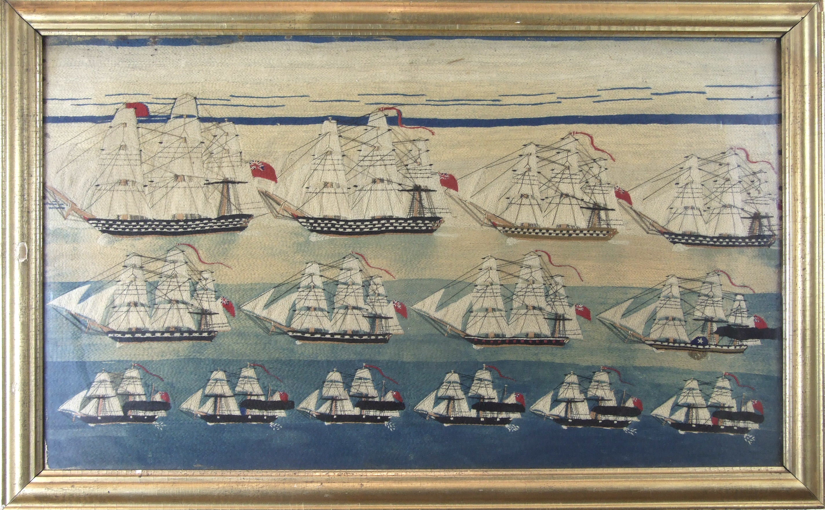 Lot 166 - A good sailor's wool-work picture depicting a mid-19th century squadron of sail, steam-sail and