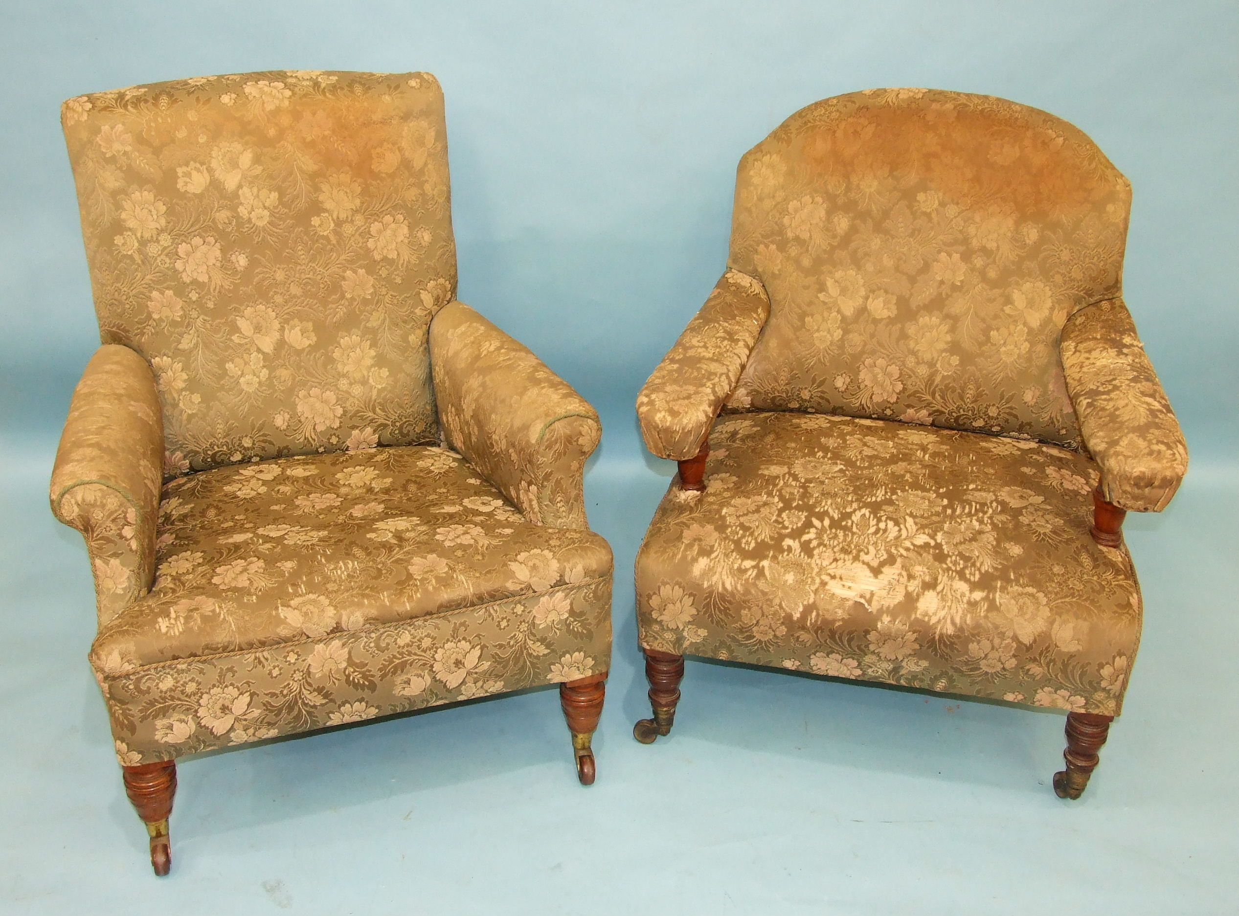Lot 84 - A late-19th century deep and generously-seated library chair with short turned walnut feet and