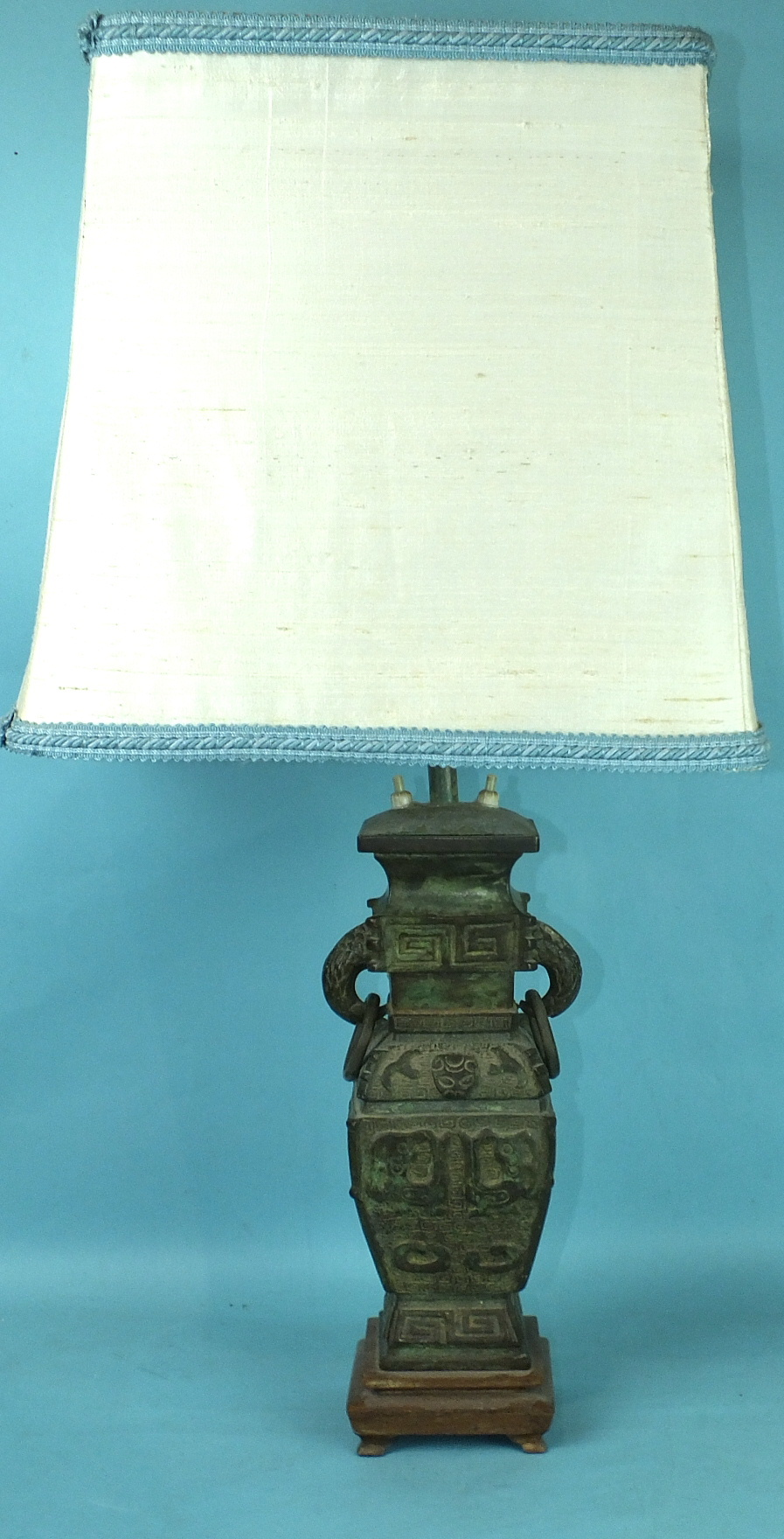 Lot 163 - A modern bronzed metal table lamp in the form of a Chinese square vase, (the bronzed vase 30cm