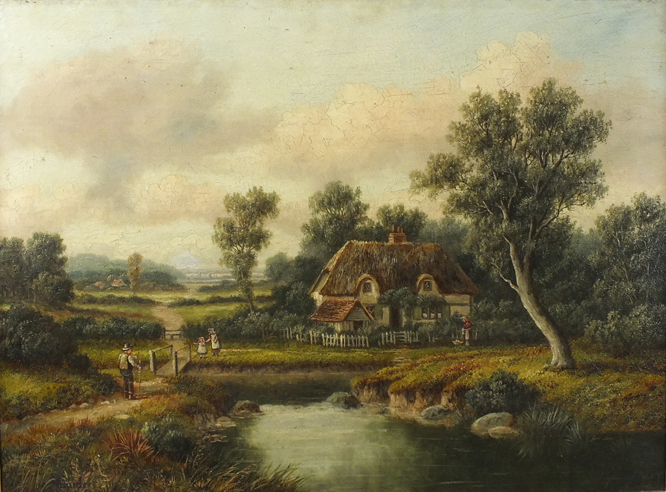 Lot 17 - 19th century English School FIGURES OUTSIDE A COTTAGE IN A PASTORAL LANDSCAPE Indistinctly-signed