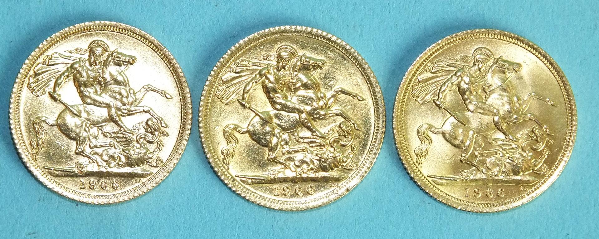 Lot 379 - Three Elizabeth II 1966 sovereigns, (3).