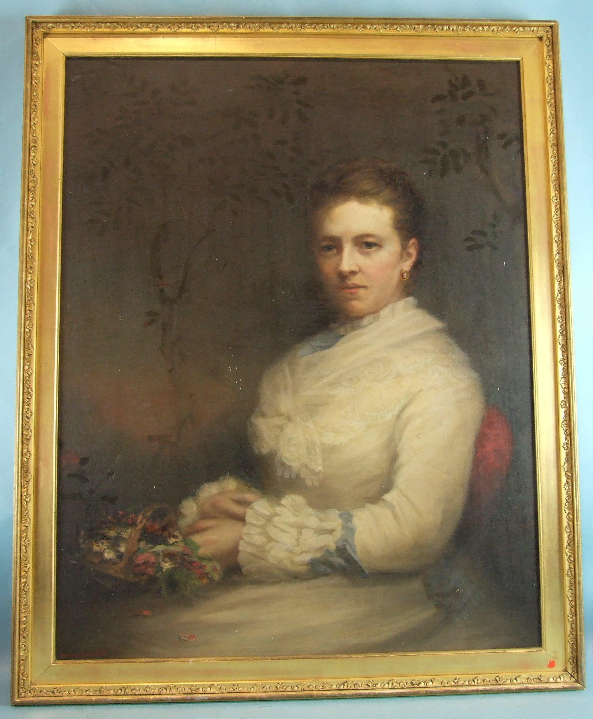 Lot 9 - John Horsburgh (Scottish, 1835-1924) PORTRAIT OF A LADY, SEATED AND WEARING A WHITE DRESS, HOLDING A