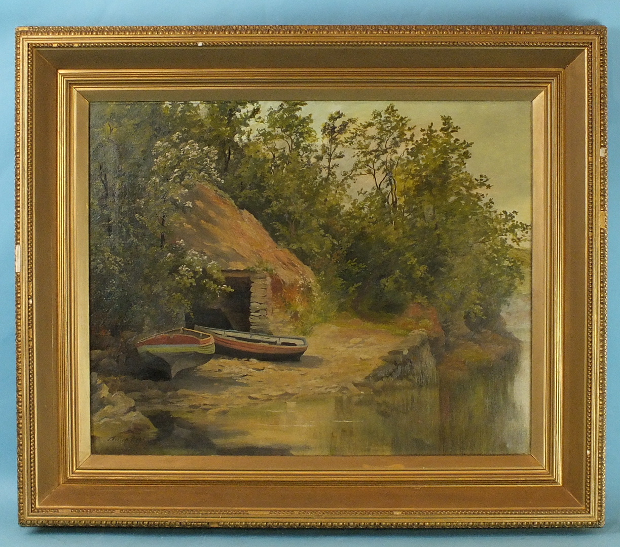 Lot 14 - J Evelyn-West BOATS ON A LAKE SHORE Signed oil on canvas, 41.5 x 51.5cm.