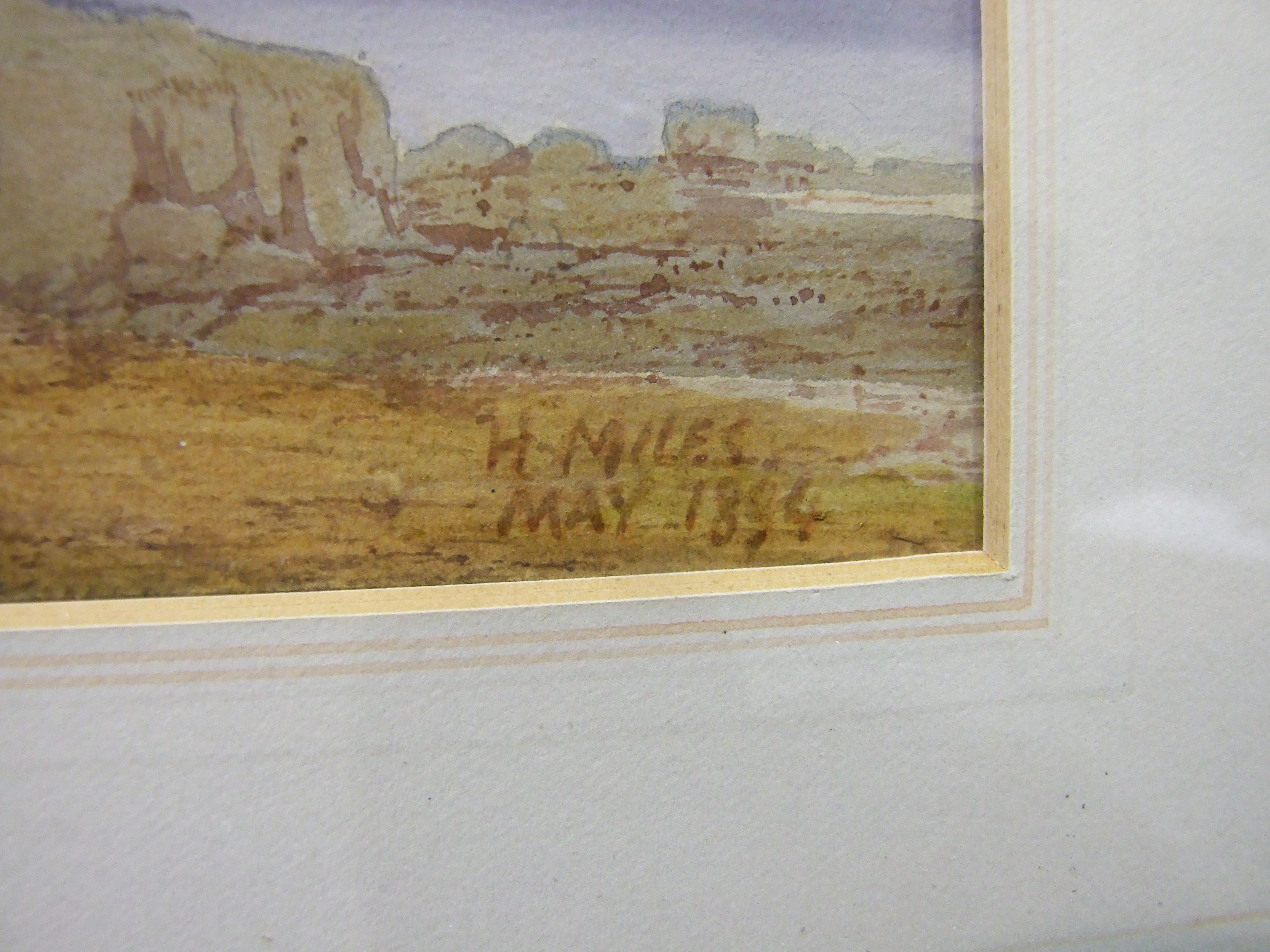 Lot 31 - H Miles (19th century) COTTAGES BESIDE A LAKE WITH MOUNTAINS IN DISTANCE Signed watercolour and