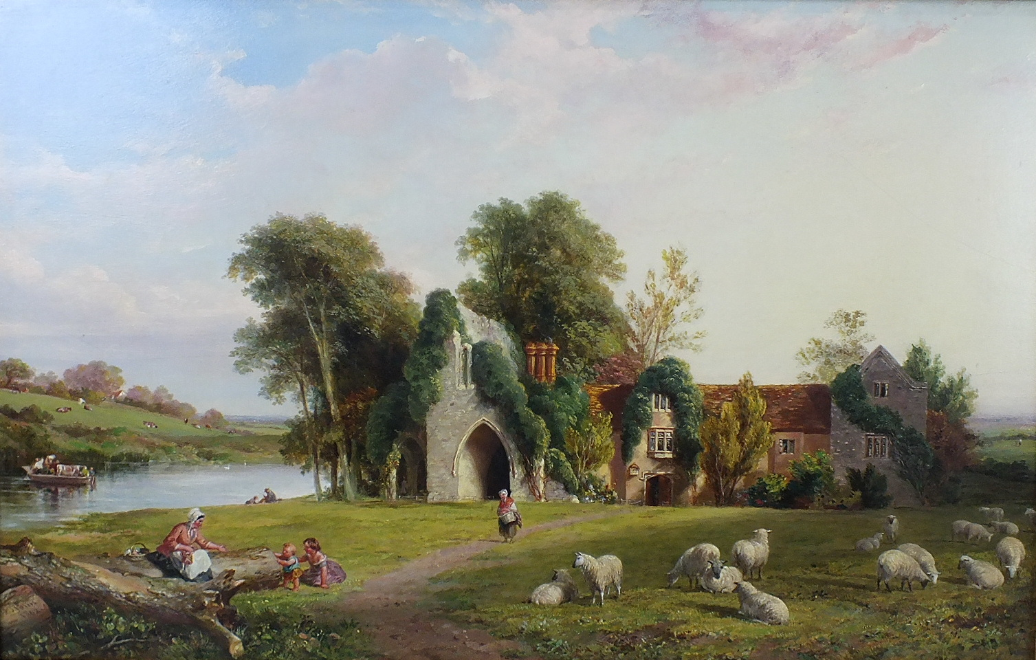 Lot 13 - Edmund Thomas Parris (1793-1873) MEDMENHAM ABBEY, DANESFIELD, MARLOW, SHEEP AND FIGURES IN FRONT