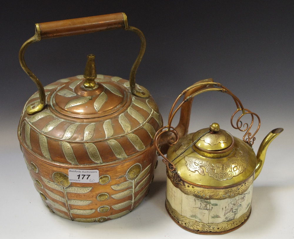 Lot 177 - A Moroccan copper teapot,inlaid overall with leaves; another Cambodian,