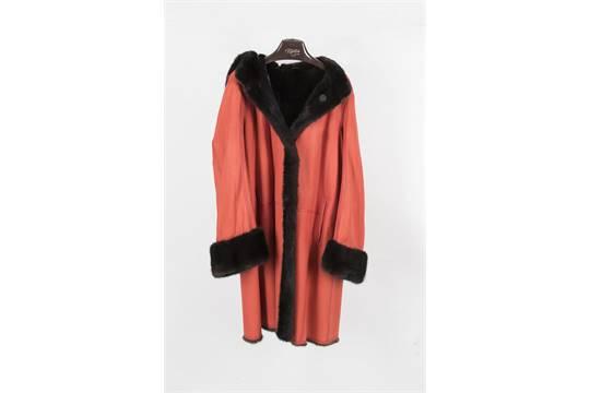 manteau pour femme int 233 rieur en fourrure brune ext 233 rieur en cuir retourn 233 capuche amovib