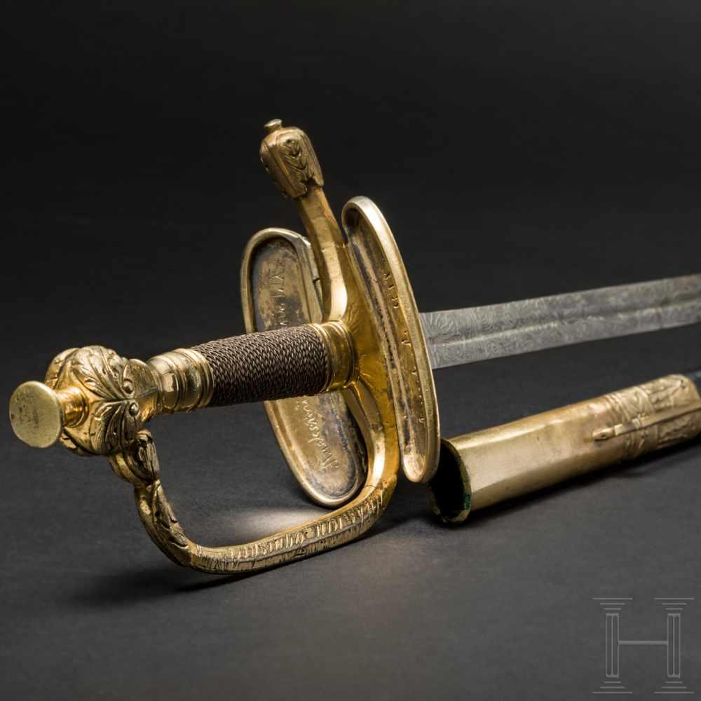 Lot 4313 - Degen M 1798 für Offiziere der russischen Infanterie mit zahlreichen eingravierten Namen der