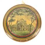 A rare circular paint and print decorated early Tunbridge ware pin cushion, of circular form one