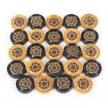 A rare set of twenty four Tunbridge ware circular draughts pieces, together with others comprising