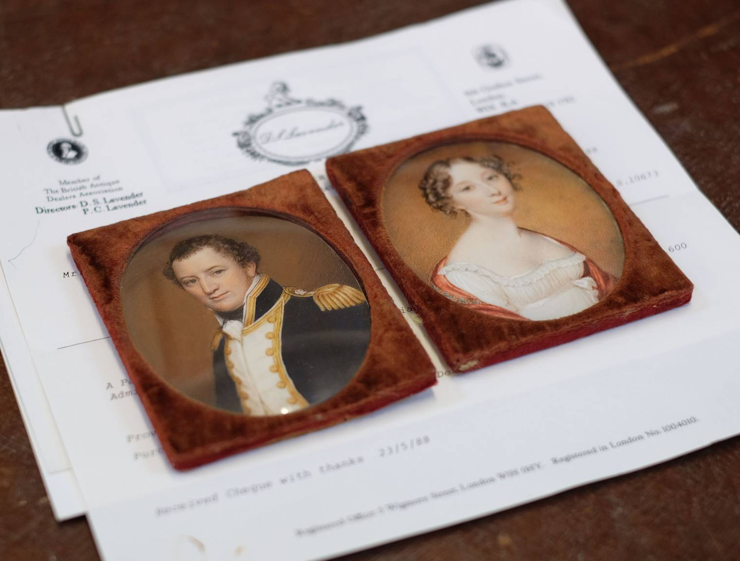 Lot 231 - *Miniatures. Admiral Edward Hawker and his wife, Joanna Naomi (née Poore), circa 1815, pair of