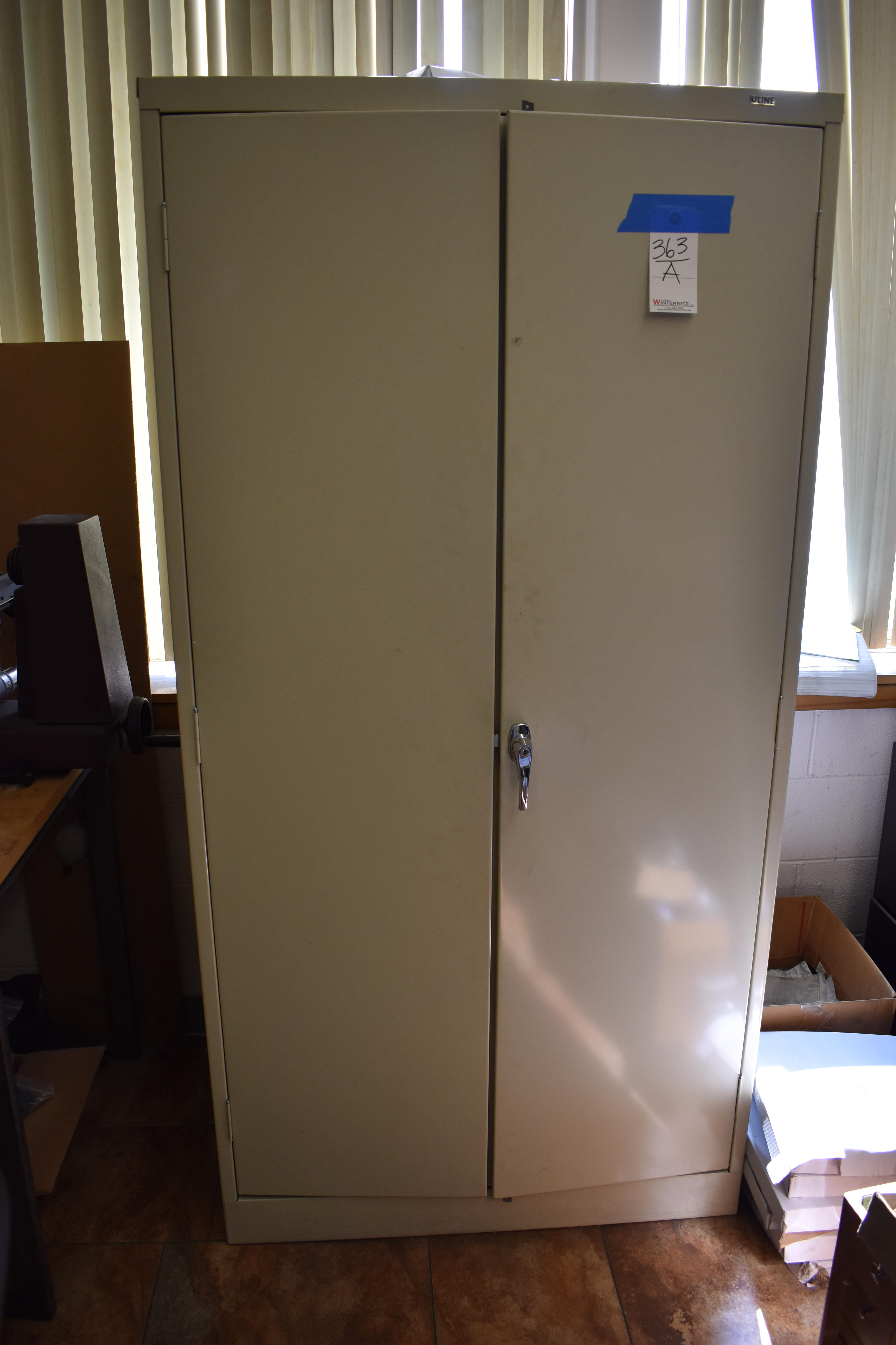 Lot 363A - LOT: Uline 2-Door Steel Storage Cabinet, 2-Drawer Lateral File Cabinet (no contents)