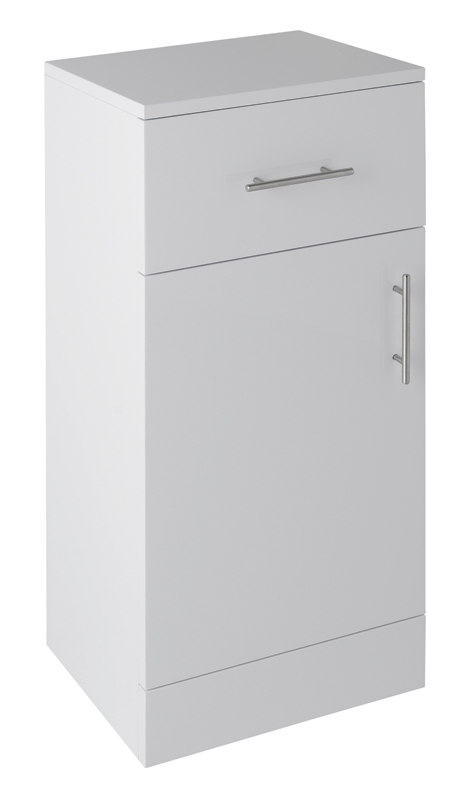 1 X Vogue Options White Gloss Bathroom 400mm Storage Cabinet Vinyl Wrap Coating For Splash Wate